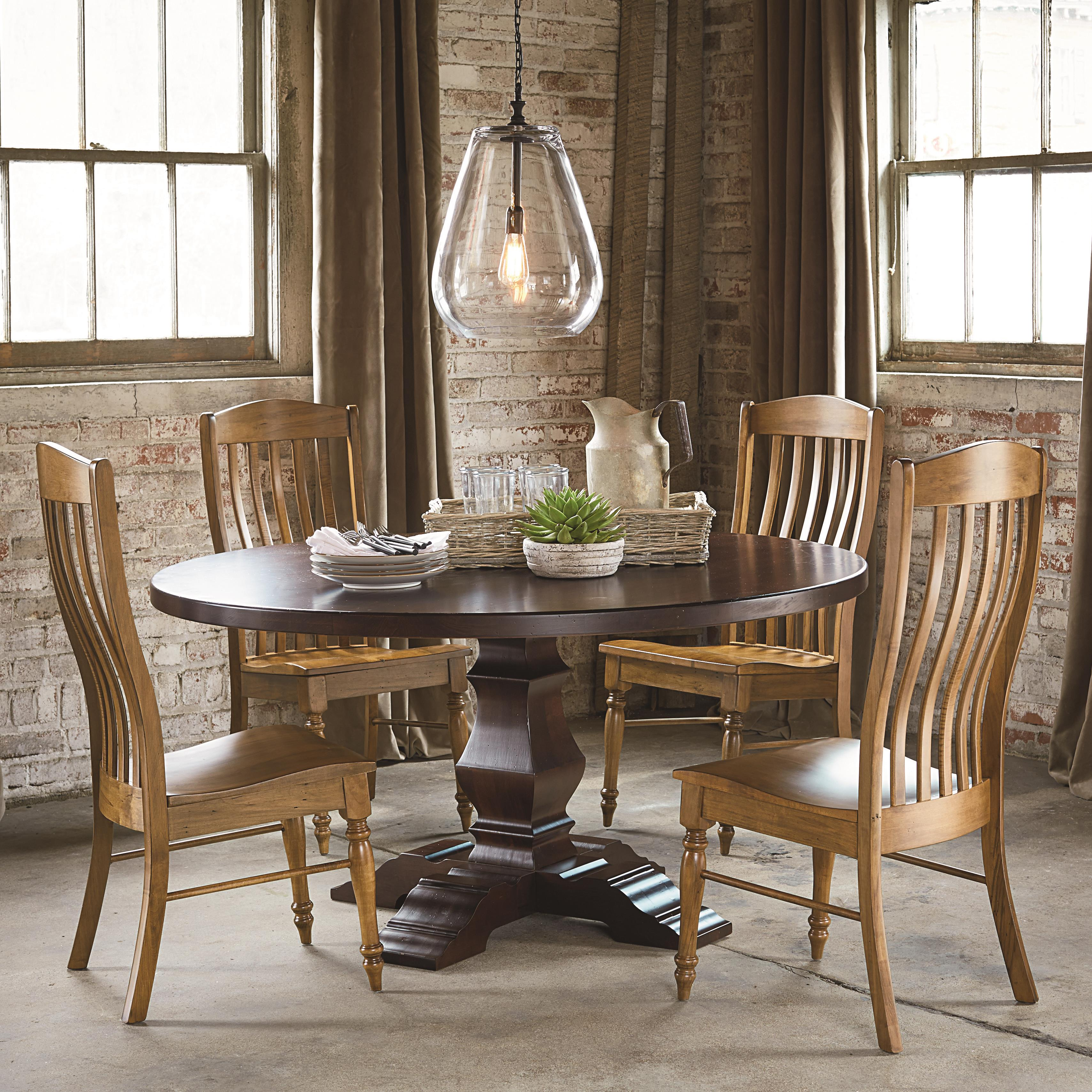 bassett bench made four person round tavern table set fashion furniture dining 5 piece sets. Black Bedroom Furniture Sets. Home Design Ideas
