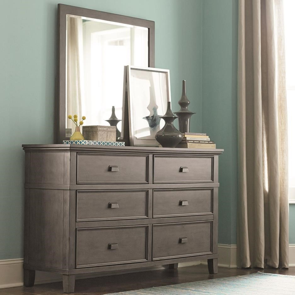Bassett Brentwood Six Drawer Dresser And Mirror Set With Media Storage Vandrie Home