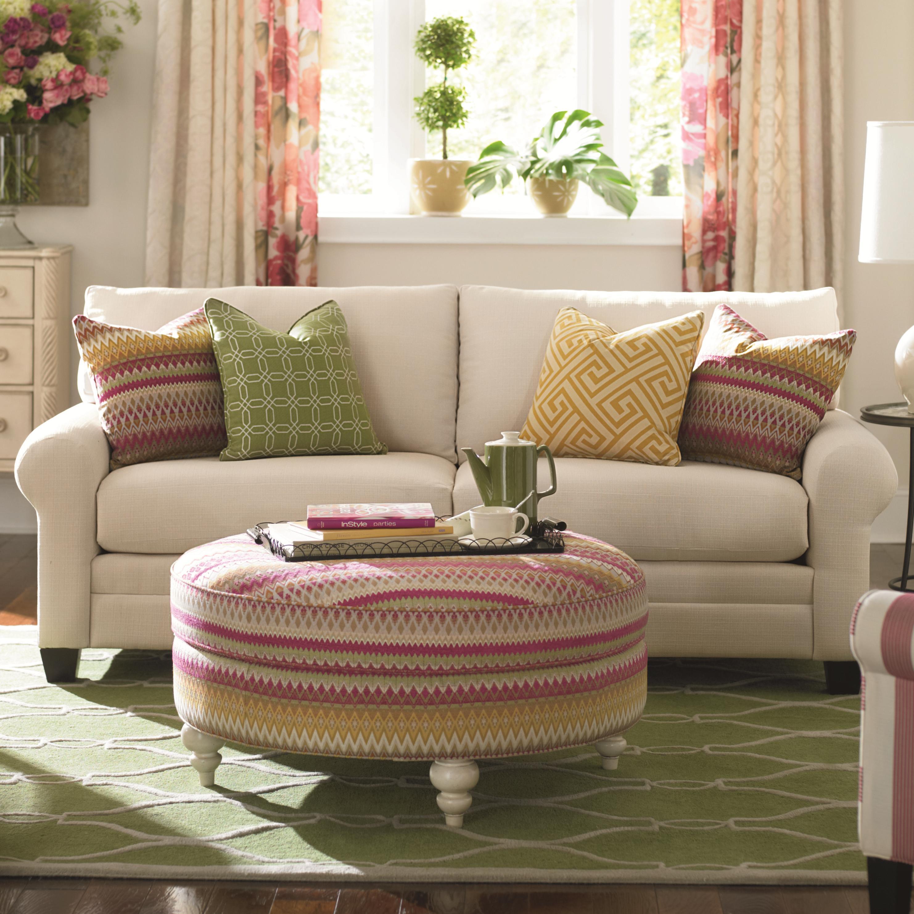 Bassett cu 2 3850 62u upholstered stationary sofa hudson for Living room furniture in pakistan
