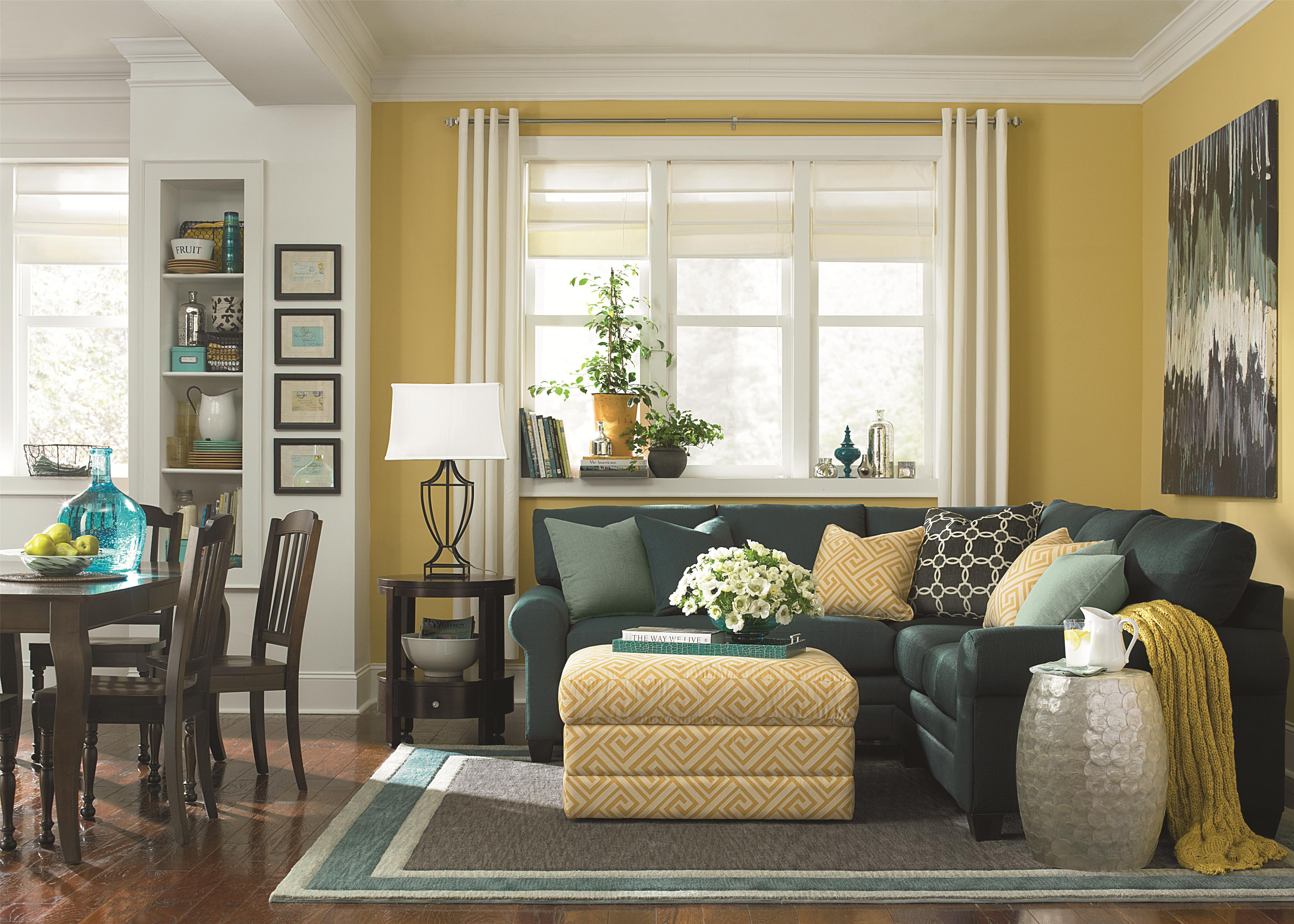 Bassett cu 2 l shaped upholstered sectional group great american home store sofa sectional for Bassett living room u shaped sectional
