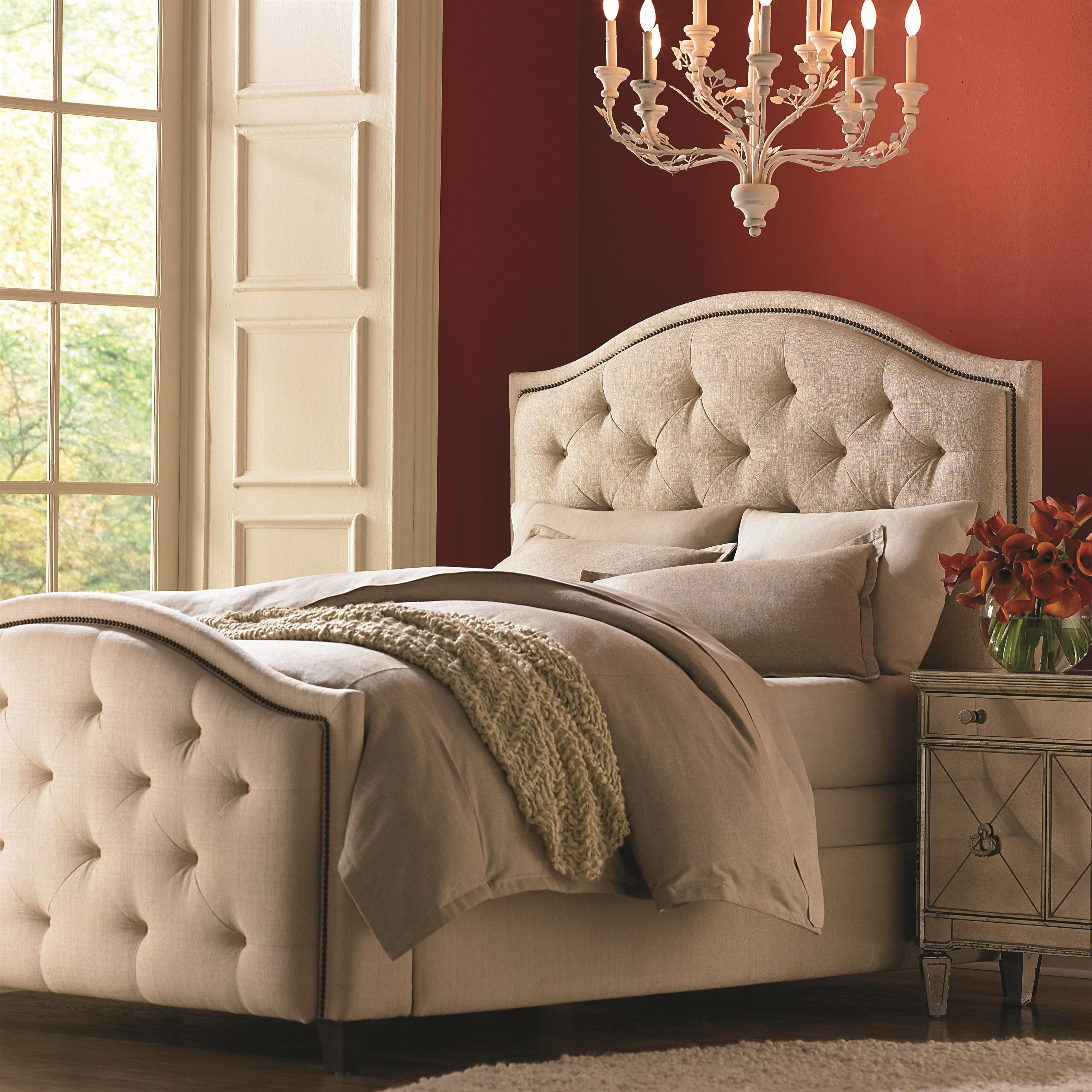 Bassett Custom Upholstered Beds Queen Vienna Upholstered Headboard And High Footboard Bed Dunk