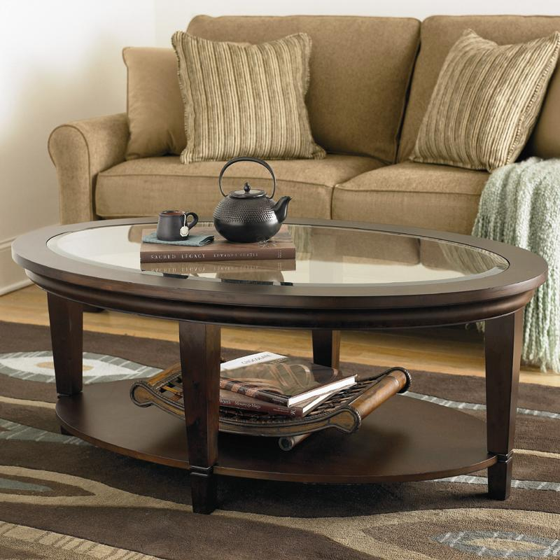 Bassett Easton Oval Cocktail Table with Beveled Glass