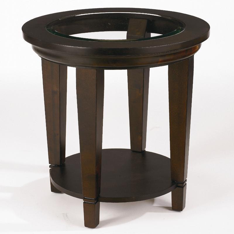 Bassett Easton Round Lamp Table with Beveled Glass Insert