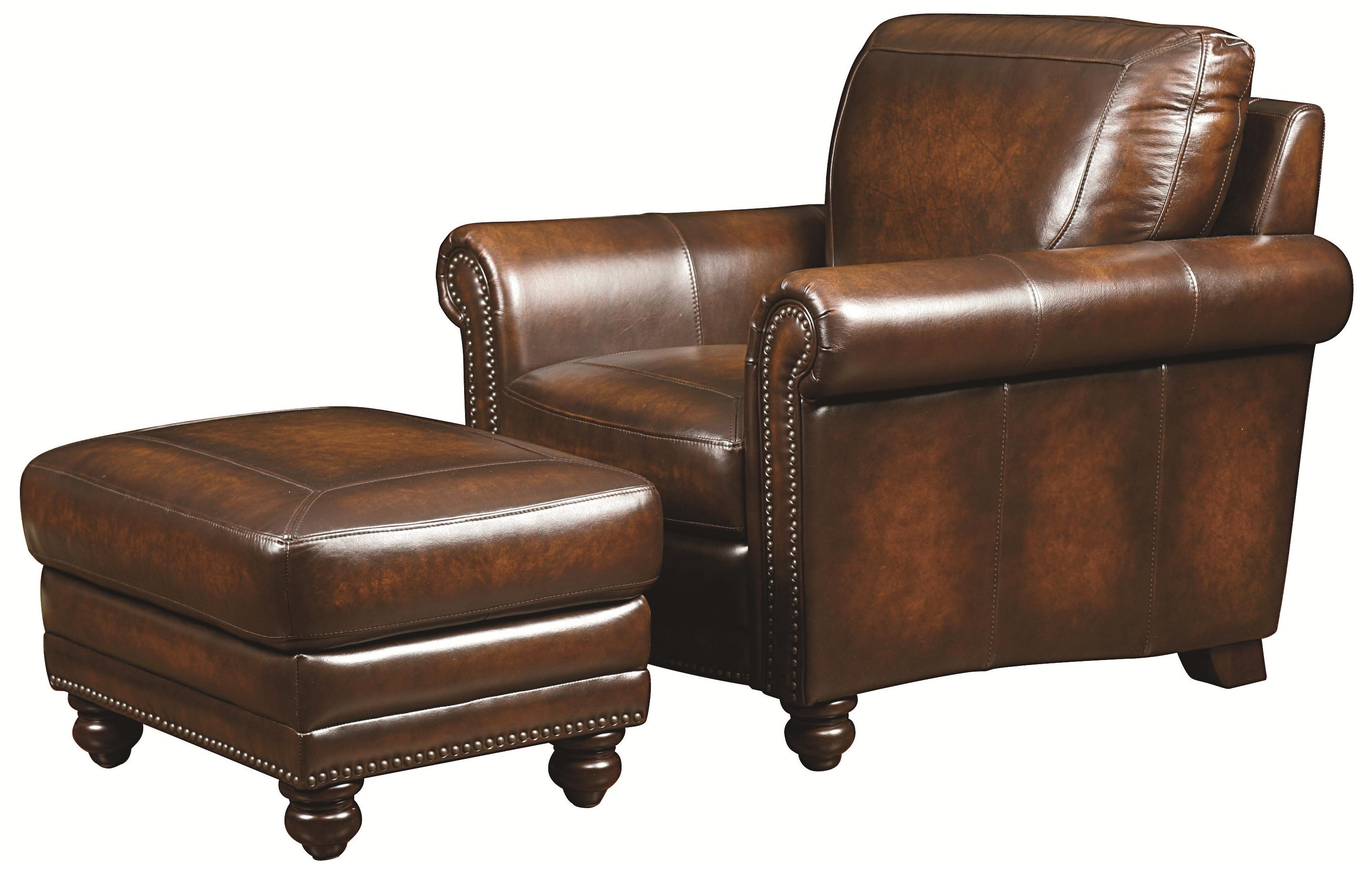 Bassett hamilton 3959 01s leather ottoman with nail head for Hudsons furniture