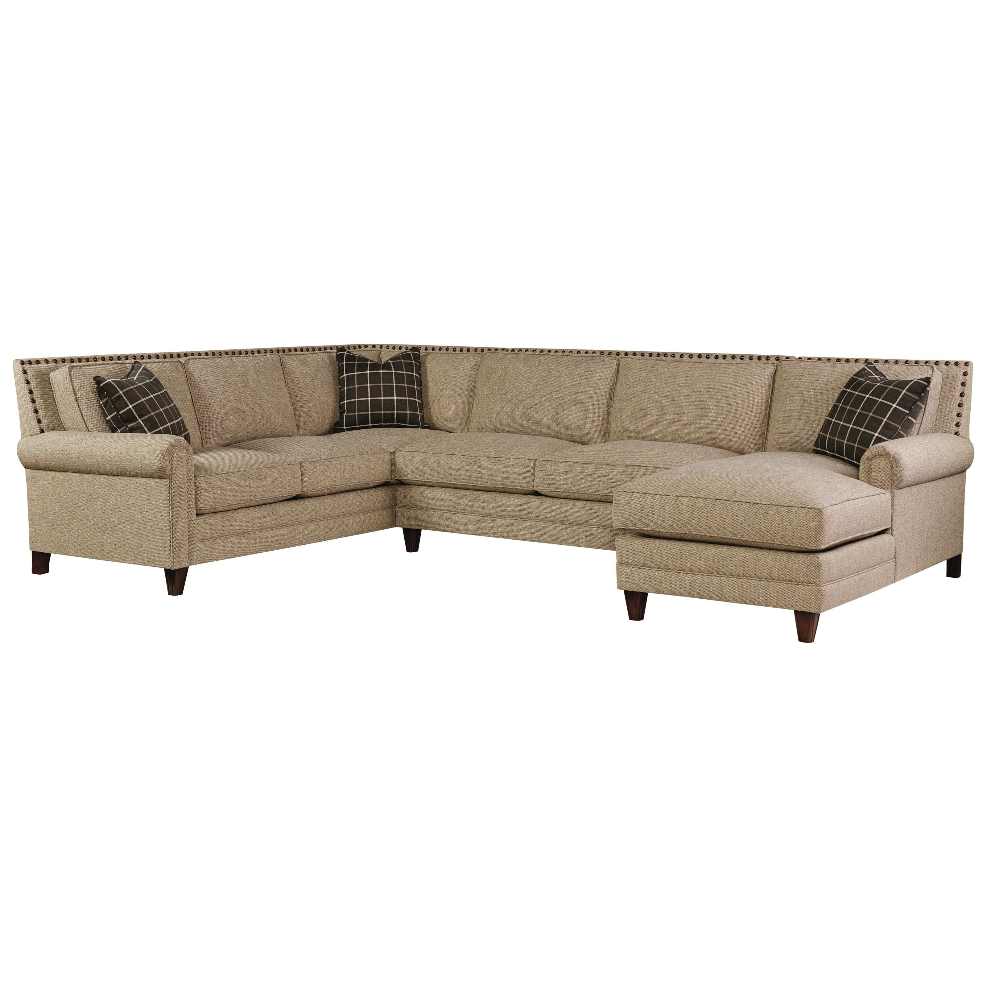 Bassett harlan sectional sofa with 5 seats 1 is a chaise for Sectional sofa seats 6