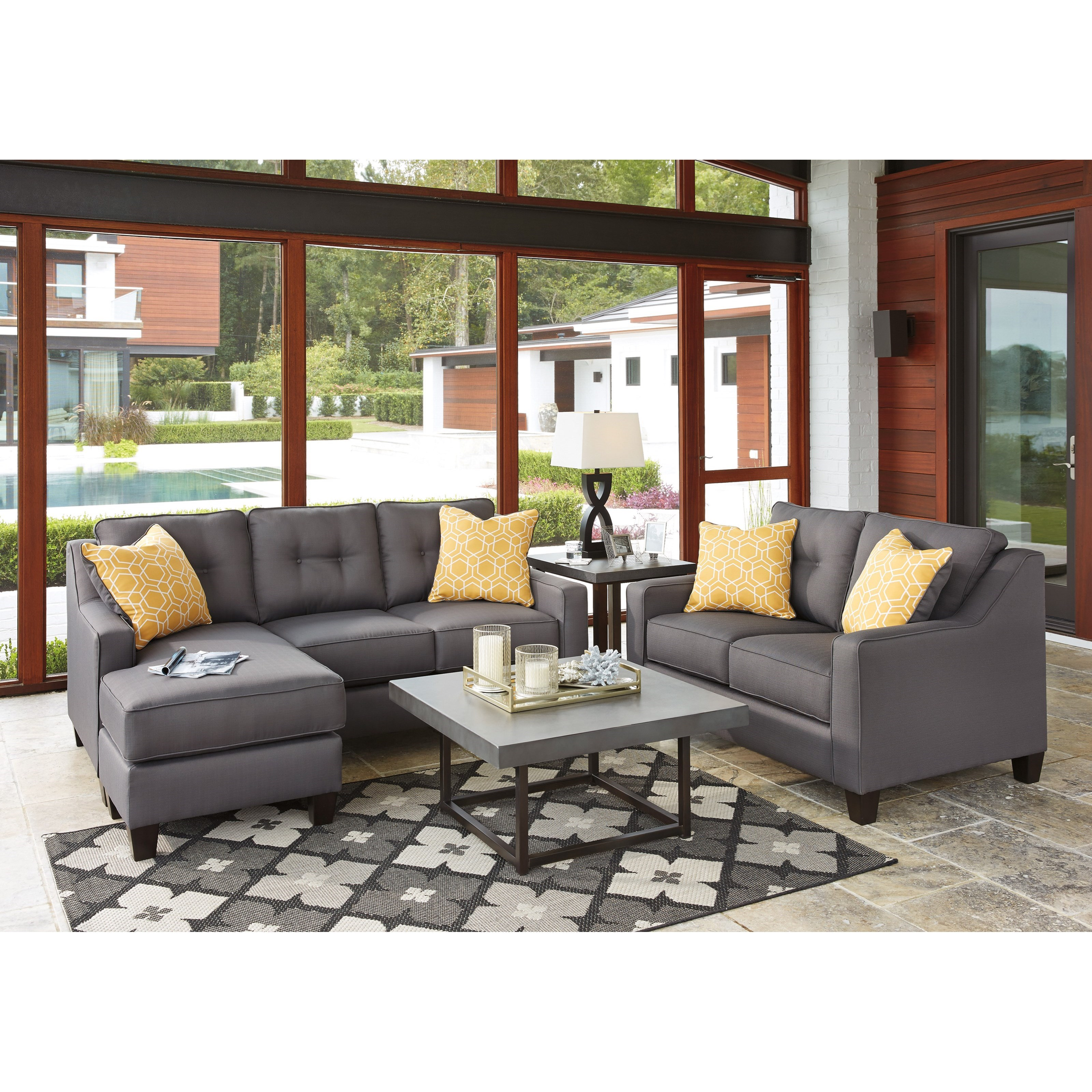 Benchcraft Aldie Nuvella 6870218 Contemporary Sofa Chaise In Performance Fabric Dunk Bright