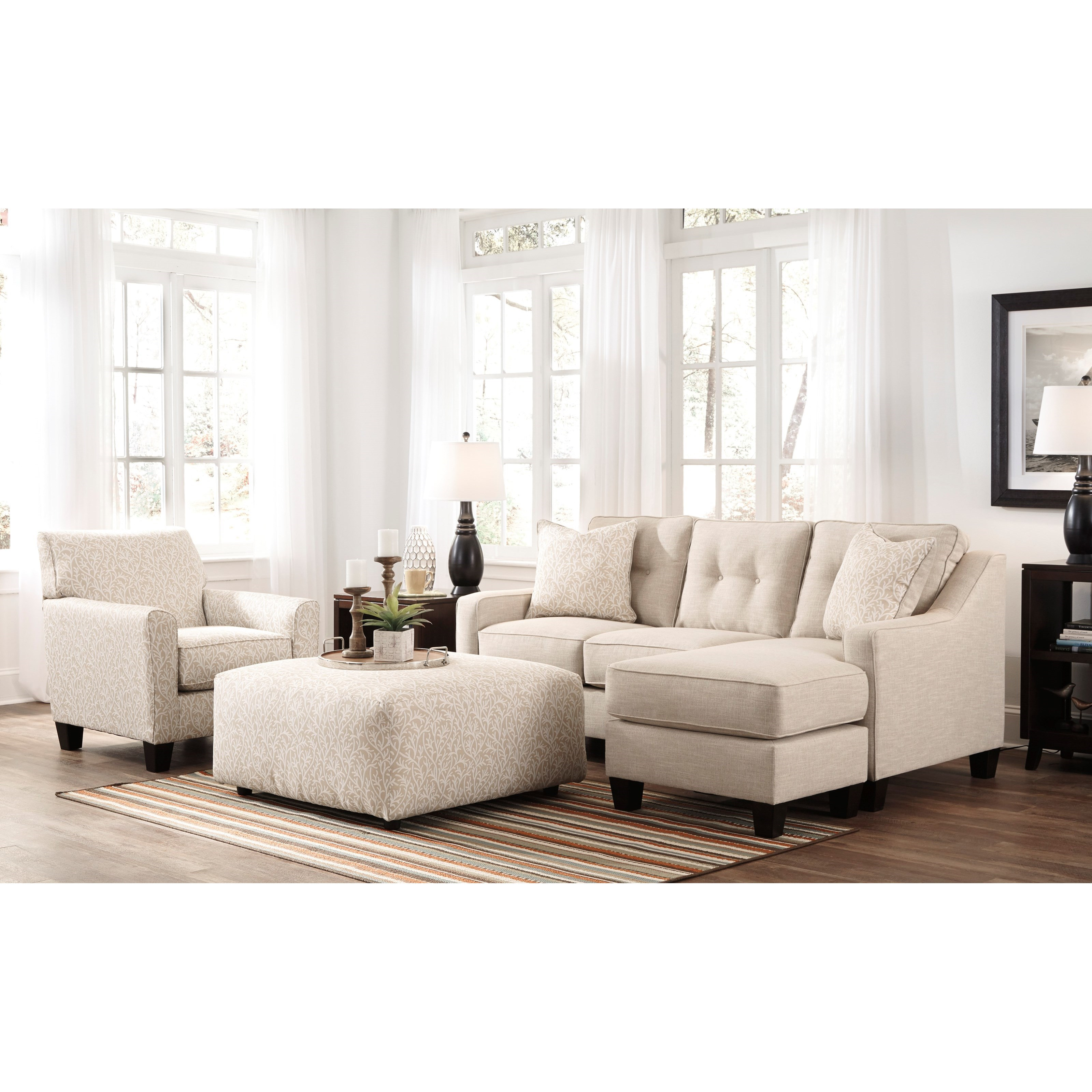 Benchcraft aldie nuvella 6870568 queen sofa chaise sleeper in performance fabric household for Daybed living room furniture