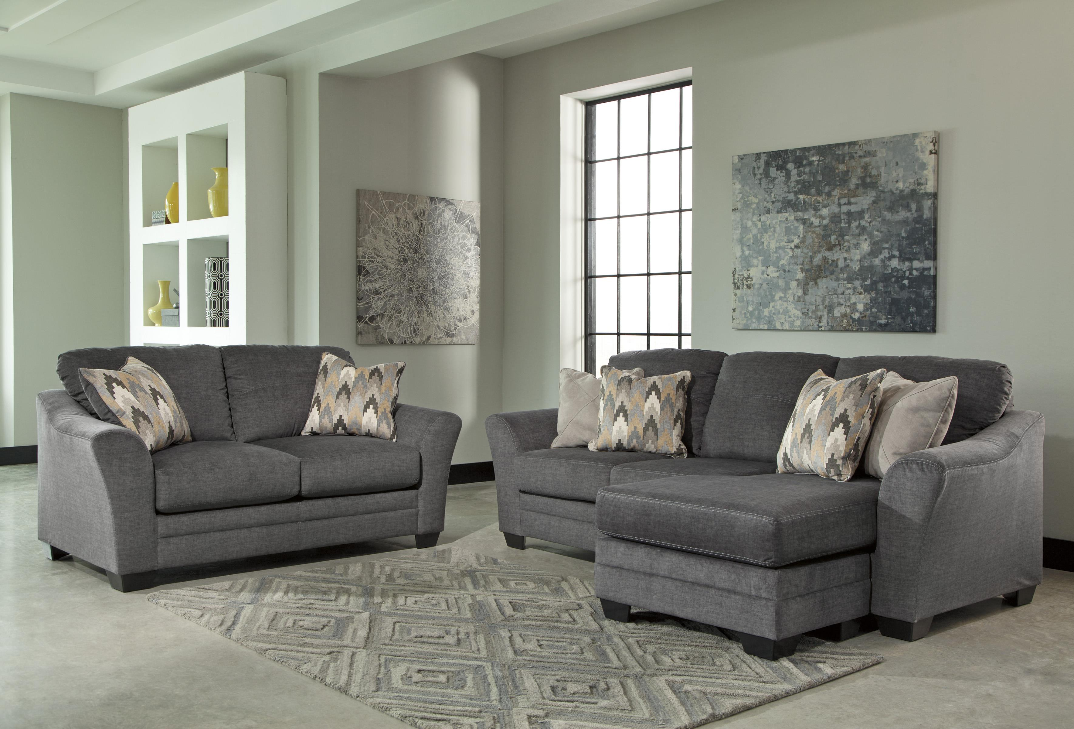 Benchcraft braxlin contemporary sofa chaise in gray fabric zak 39 s fine furniture sofas for Daybed living room furniture