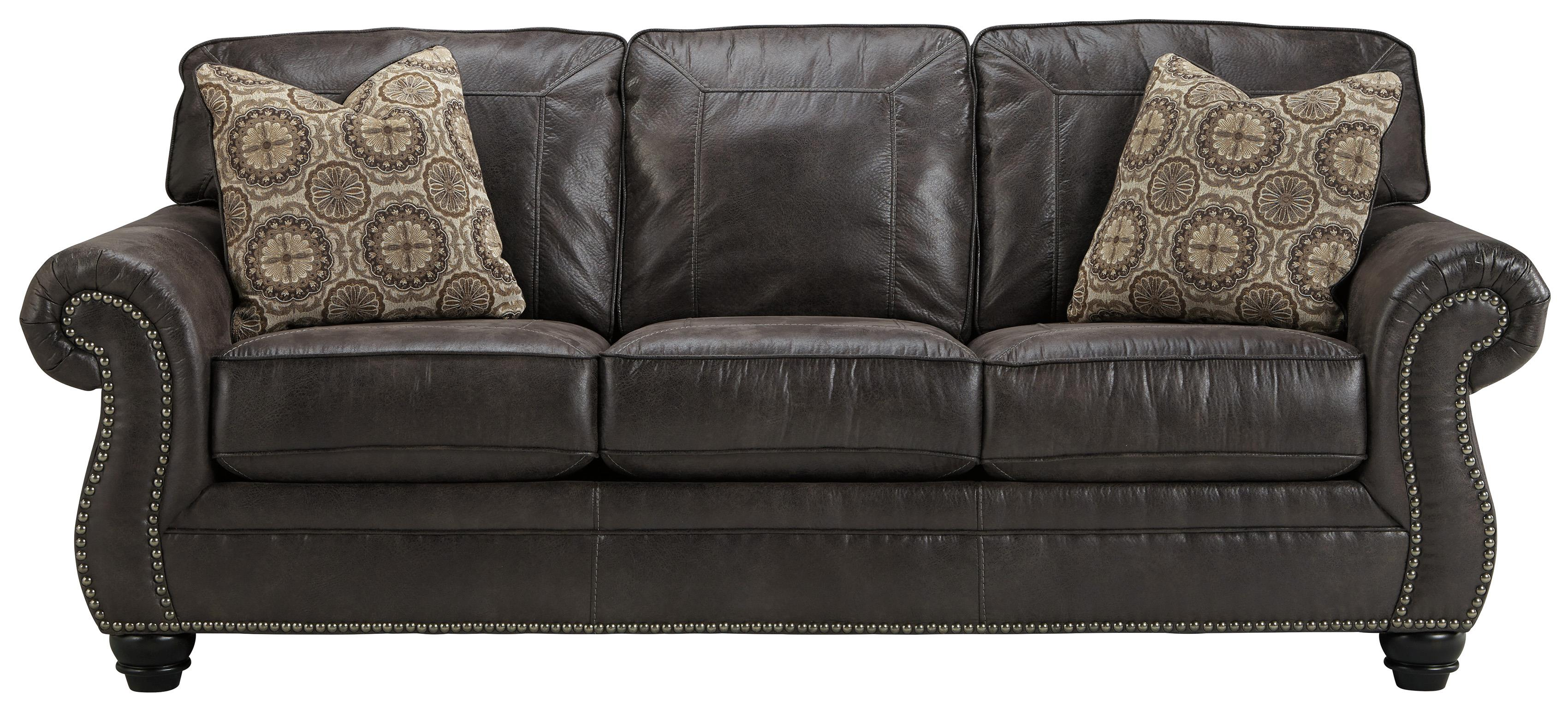 Benchcraft Breville 8000439 Faux Leather Queen Sofa Sleeper With Rolled Arms And Nailhead Trim