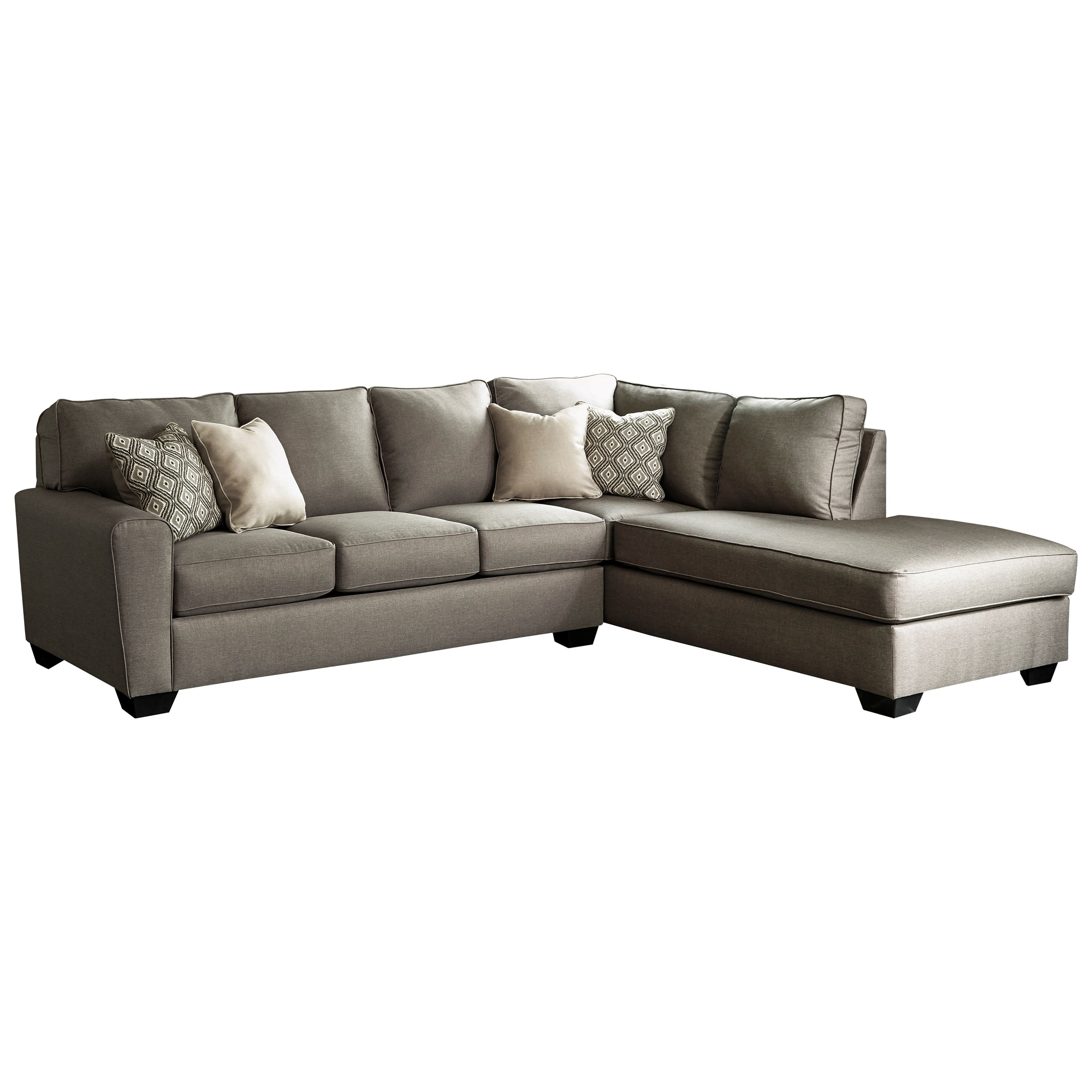 benchcraft by ashley calicho contemporary sectional with right chaise royal furniture. Black Bedroom Furniture Sets. Home Design Ideas