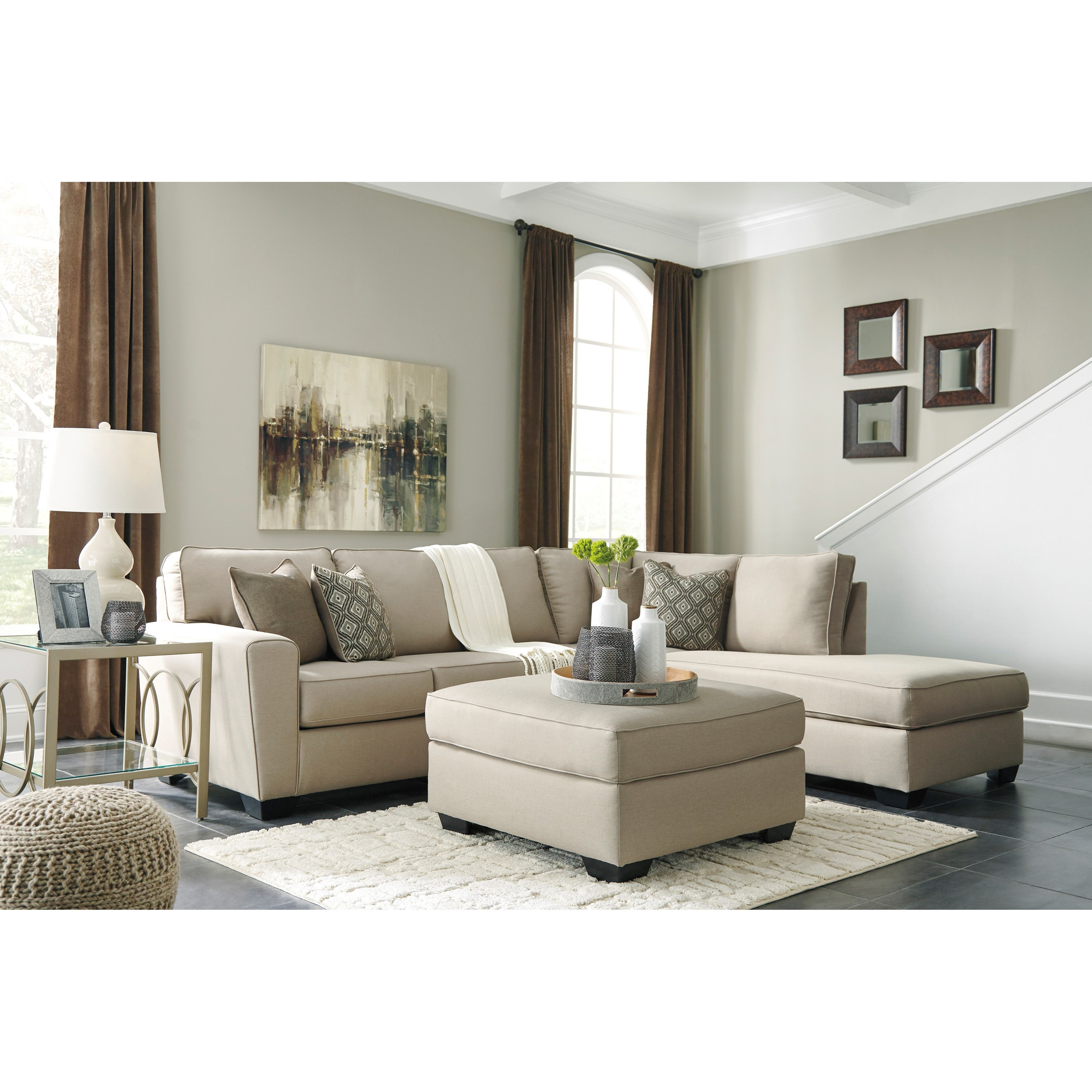 Benchcraft By Ashley Calicho Contemporary Sectional With Right Chaise Royal