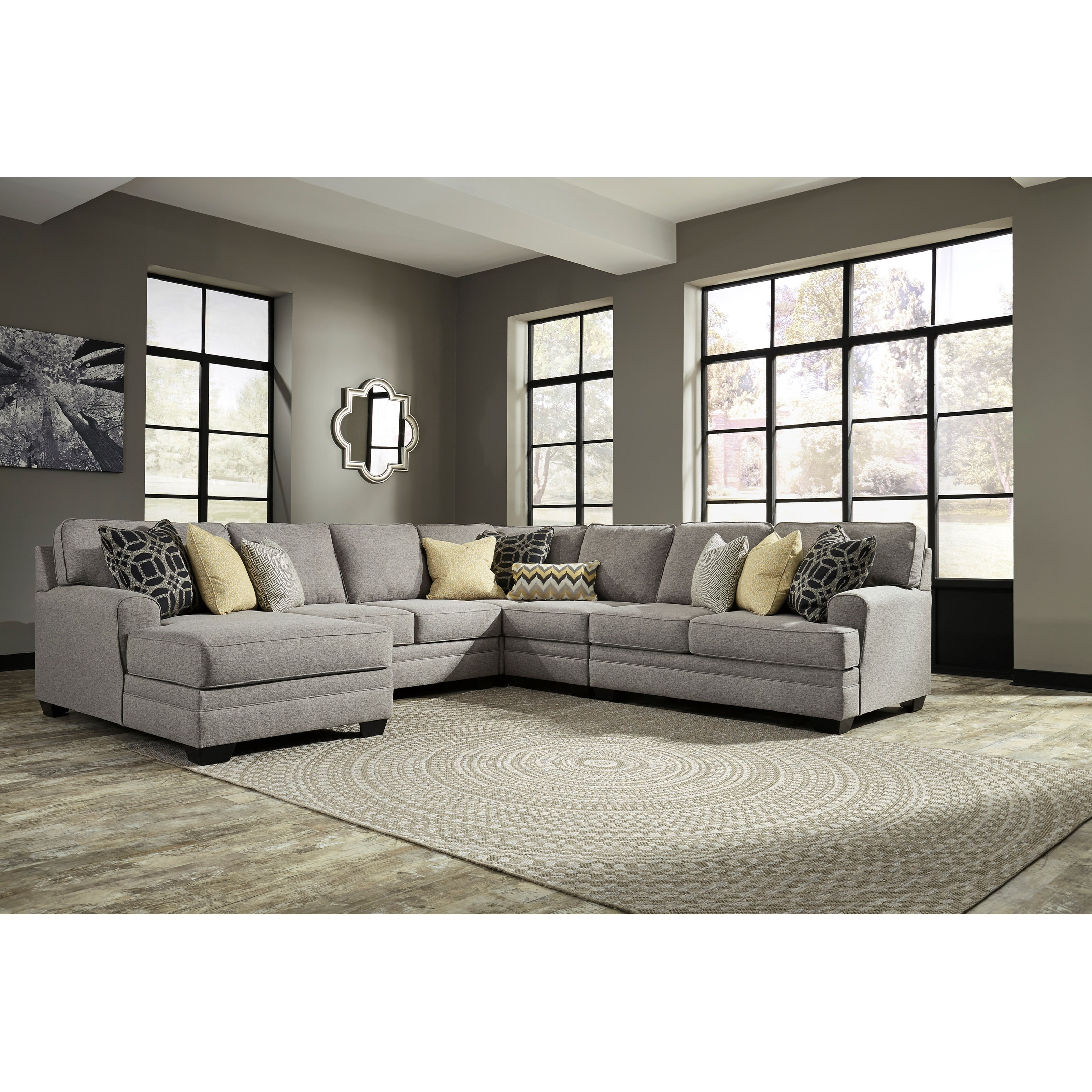 Benchcraft cresson contemporary 5 piece sectional with for 5 piece sectional sofa with chaise