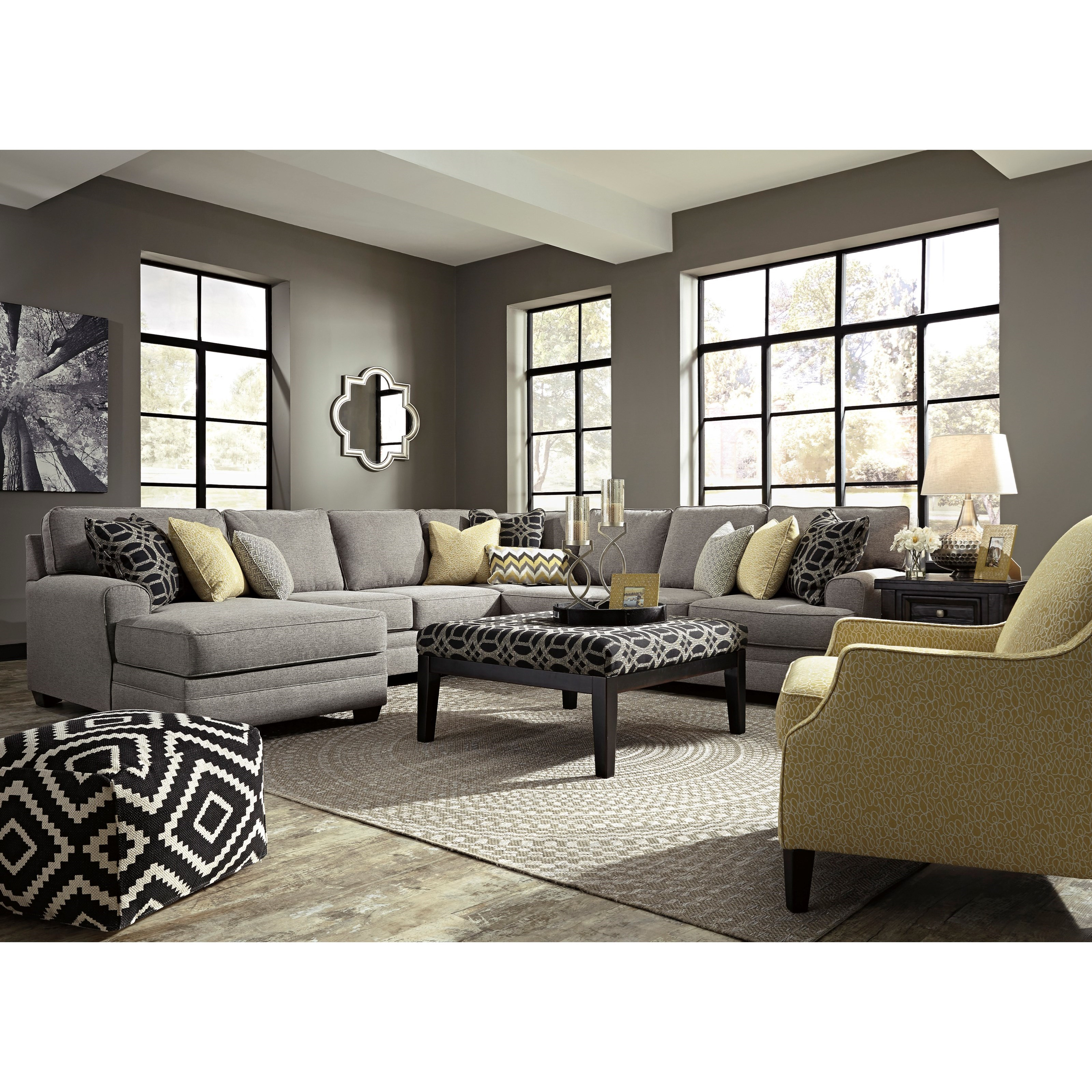 Benchcraft Cresson Contemporary 5 Piece Sectional With Chaise Dunk Bright Furniture