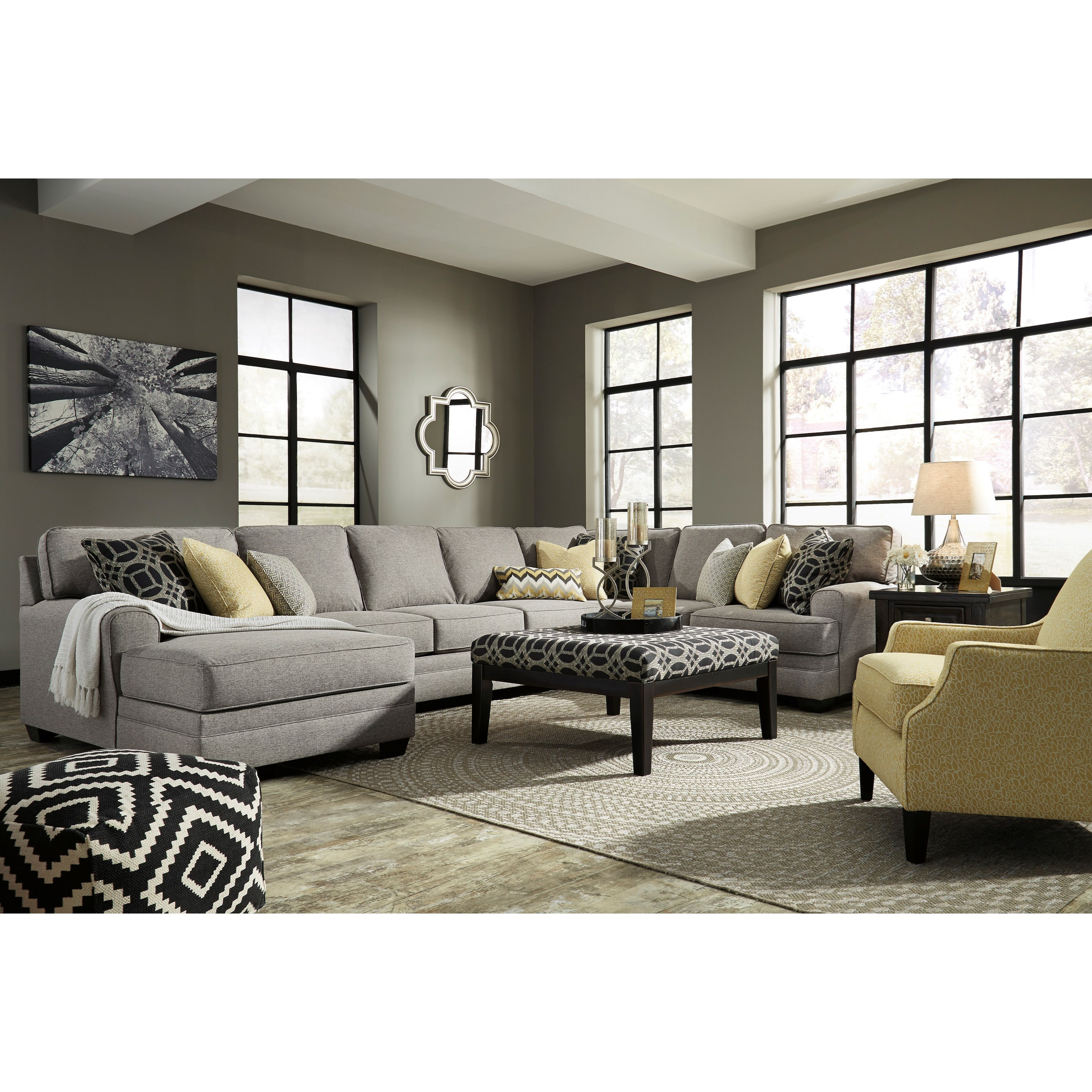Benchcraft cresson contemporary 4 piece sectional with for Armless sectional sofa chaise