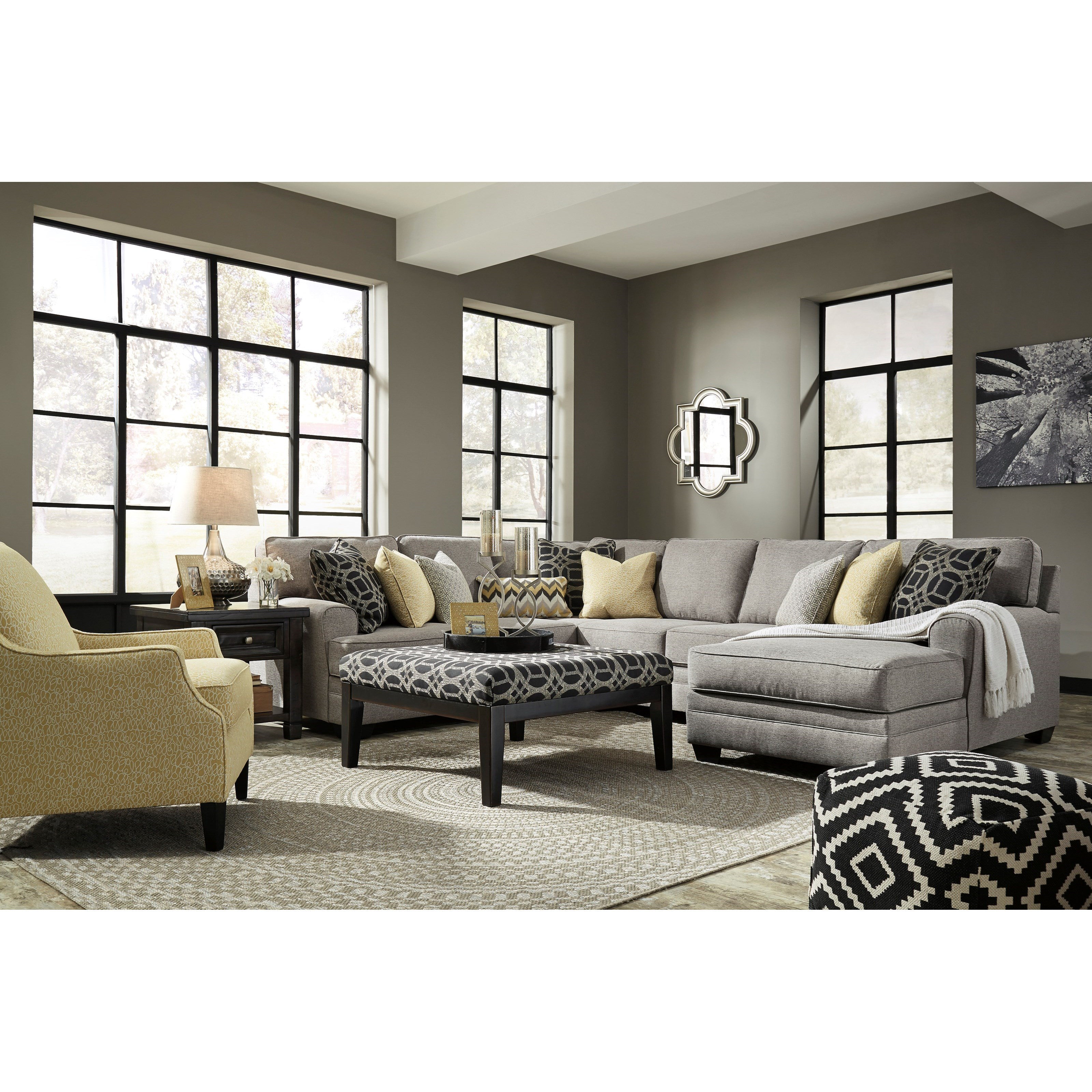 benchcraft cresson contemporary 4 piece sectional with chaise value city furniture sectional. Black Bedroom Furniture Sets. Home Design Ideas