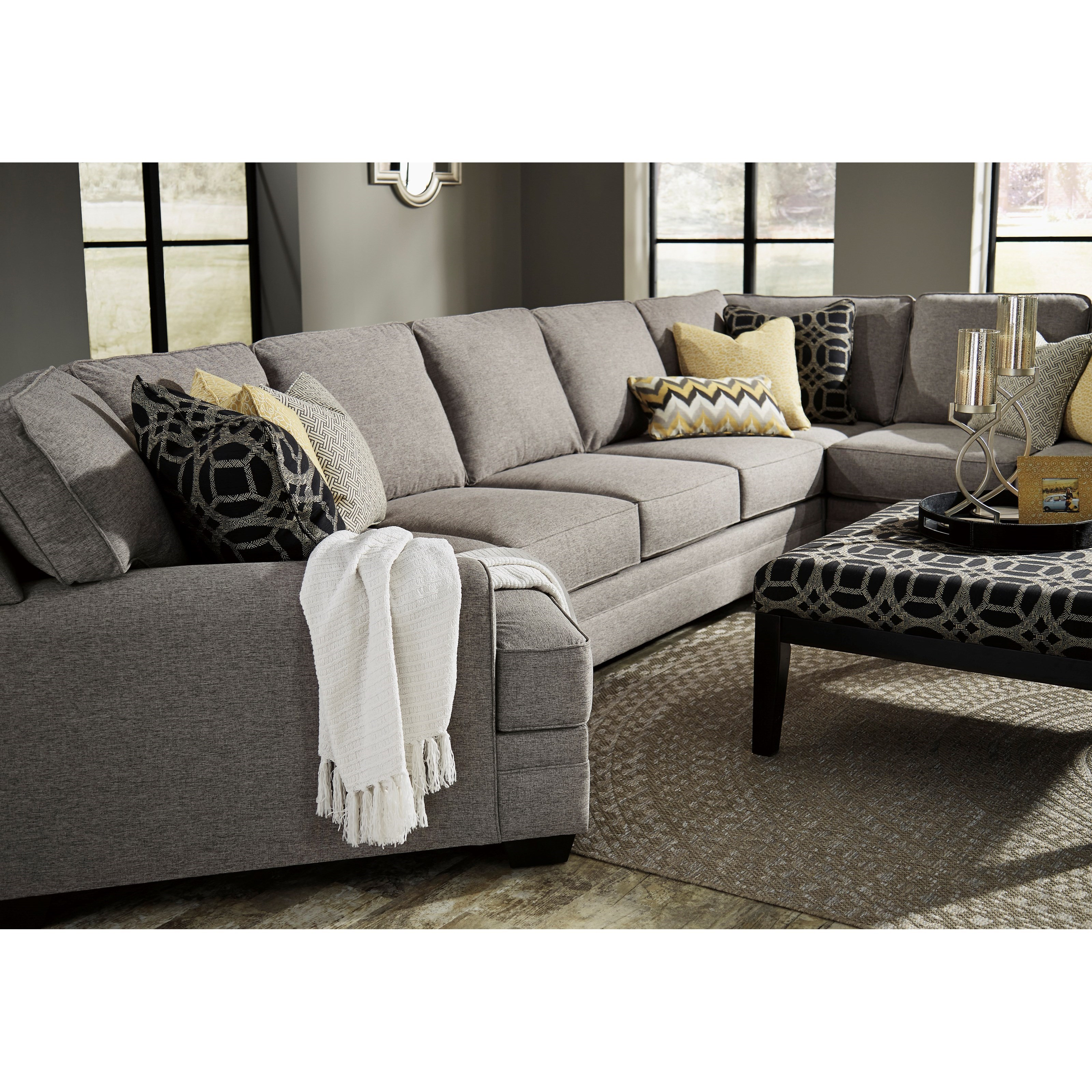 Benchcraft cresson contemporary 4 piece sectional w for 4 piece recliner sectional sofa