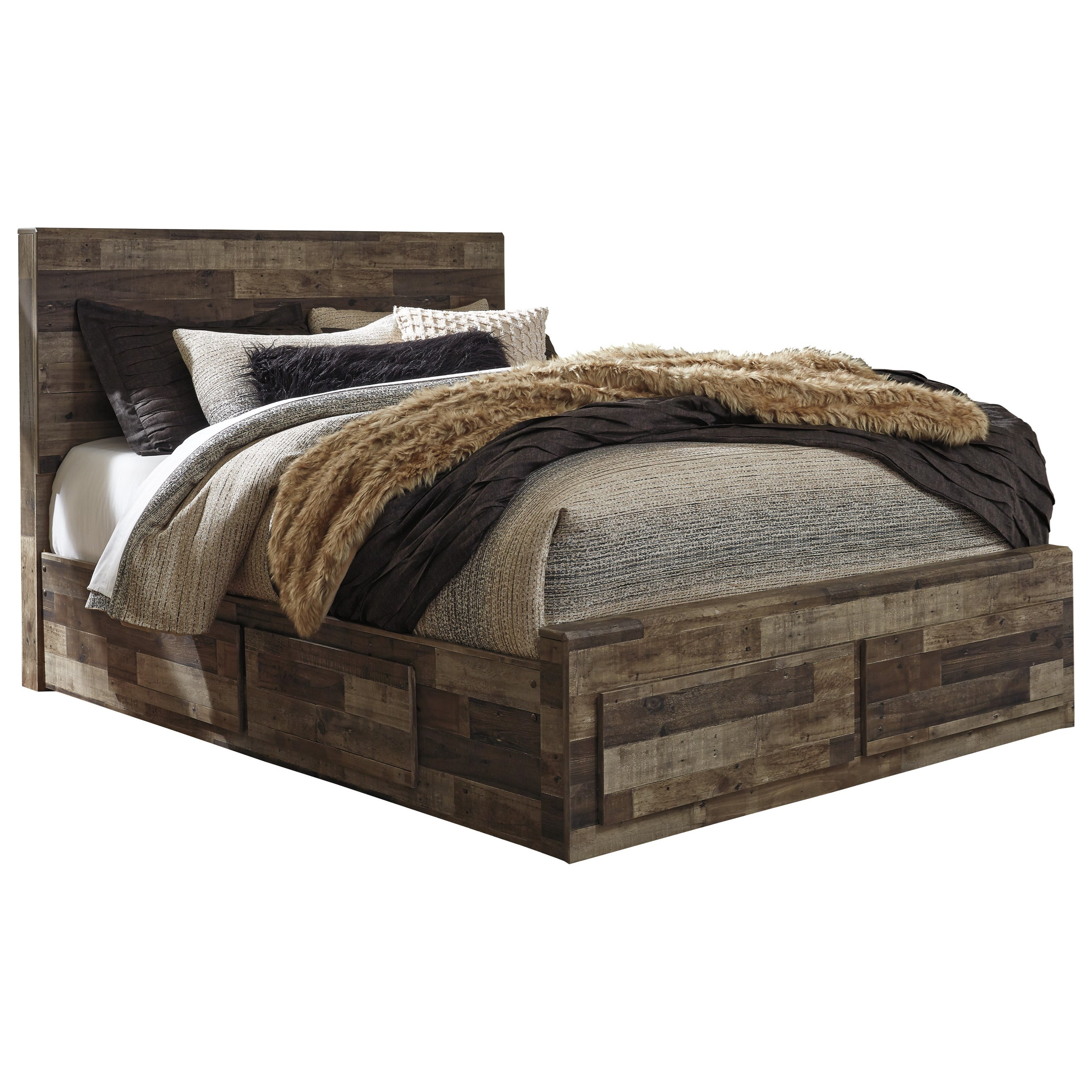 benchcraft derekson rustic modern queen storage bed with 6 drawers del sol furniture. Black Bedroom Furniture Sets. Home Design Ideas