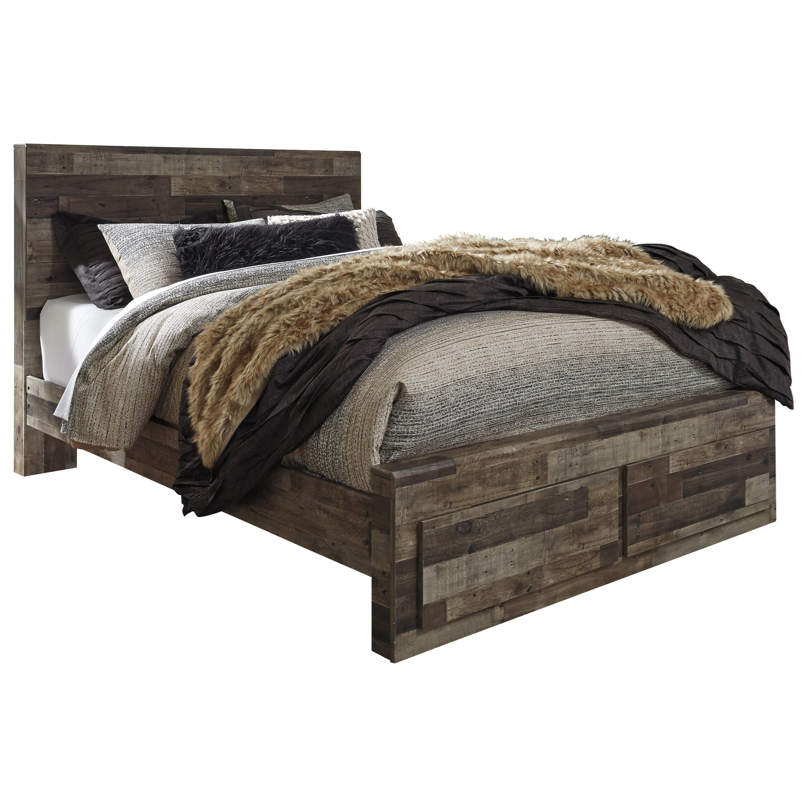 modern storage beds benchcraft derekson rustic modern storage bed with 2 12627
