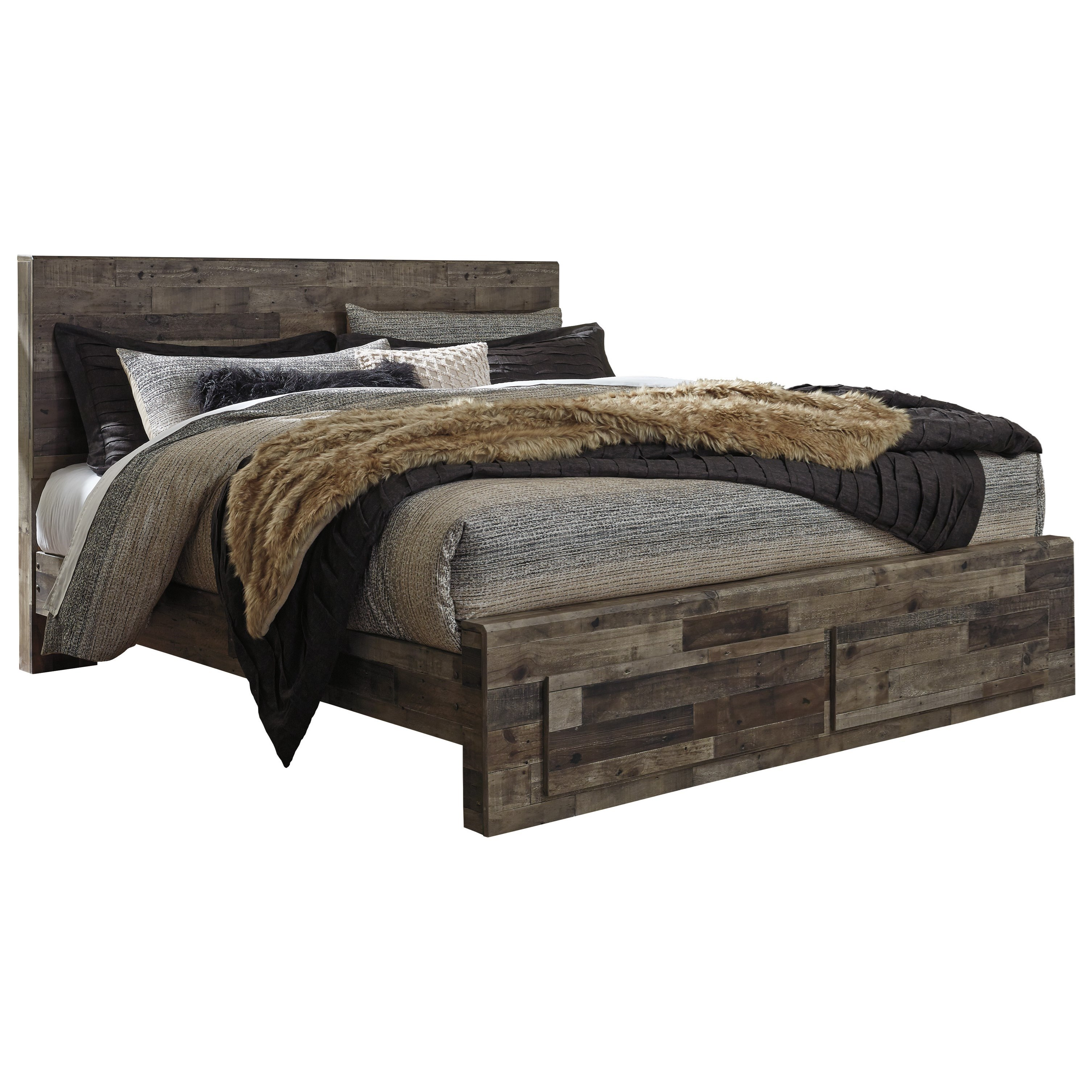 benchcraft by ashley derekson rustic modern king storage bed with 2 footboard drawers royal. Black Bedroom Furniture Sets. Home Design Ideas