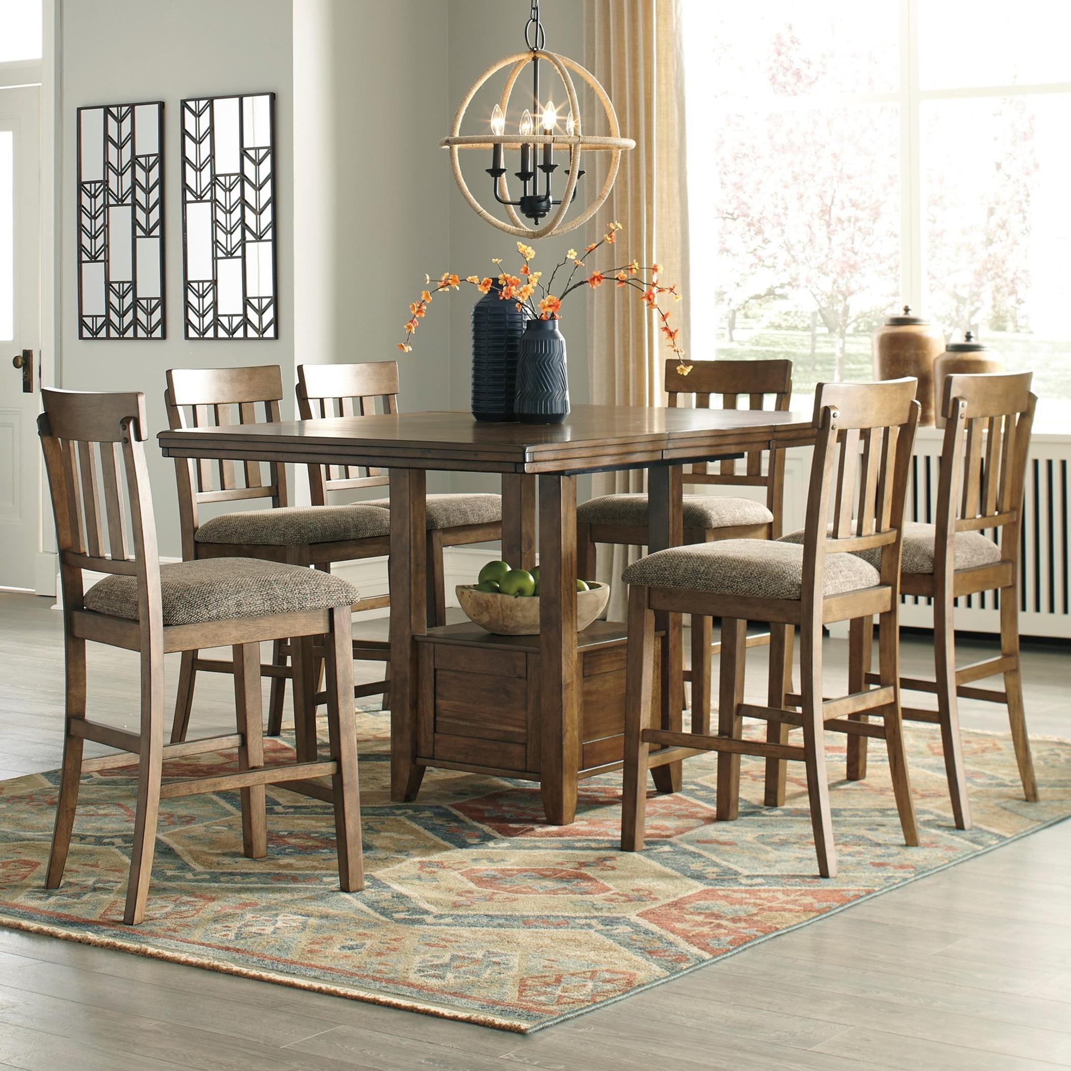 signature design by ashley flaybern 7 piece pub dining set conlin 39 s furniture pub table and. Black Bedroom Furniture Sets. Home Design Ideas