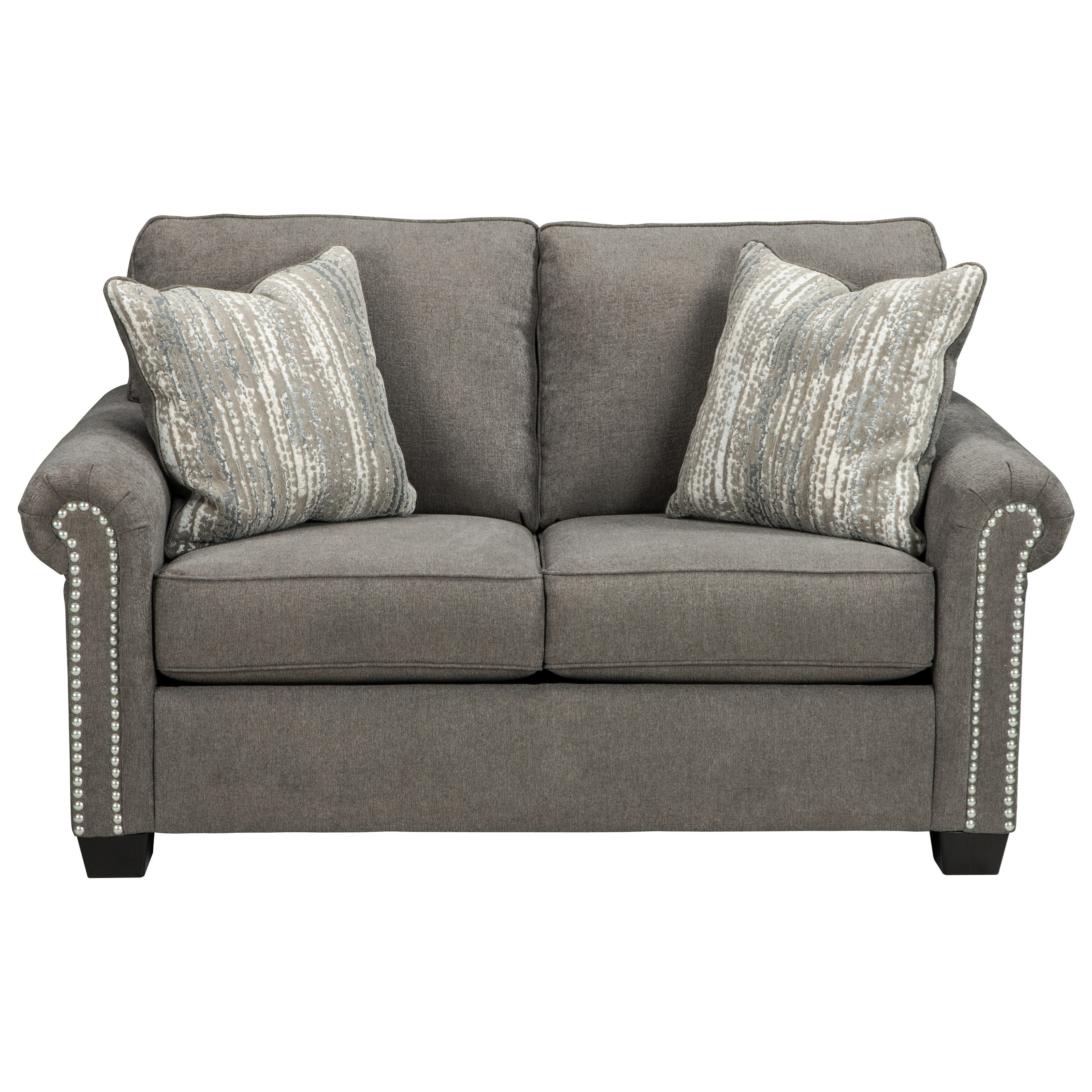 Benchcraft Gilman Transitional Loveseat With Nailheads