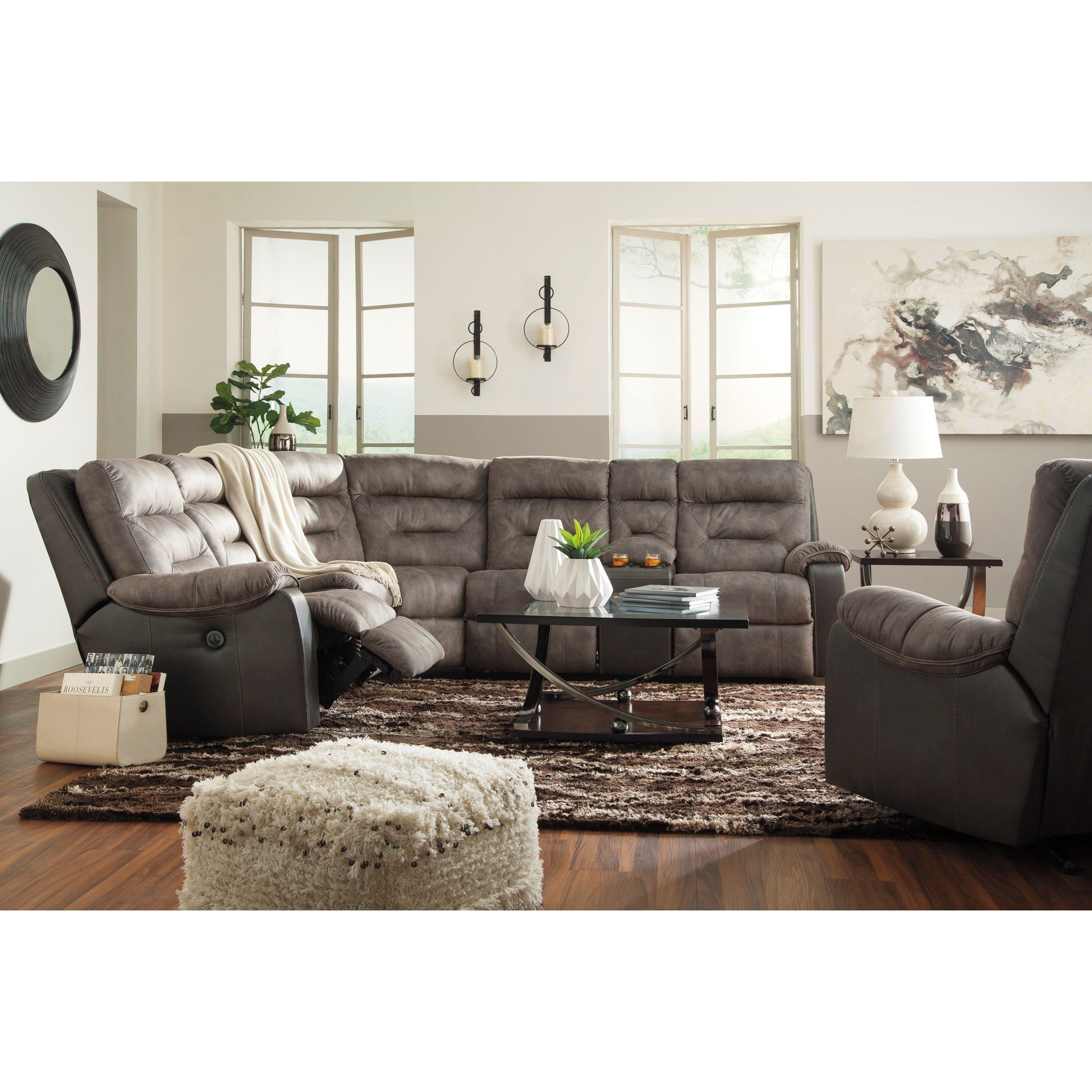 Benchcraft hacklesbury reclining living room group for Living room furniture groups