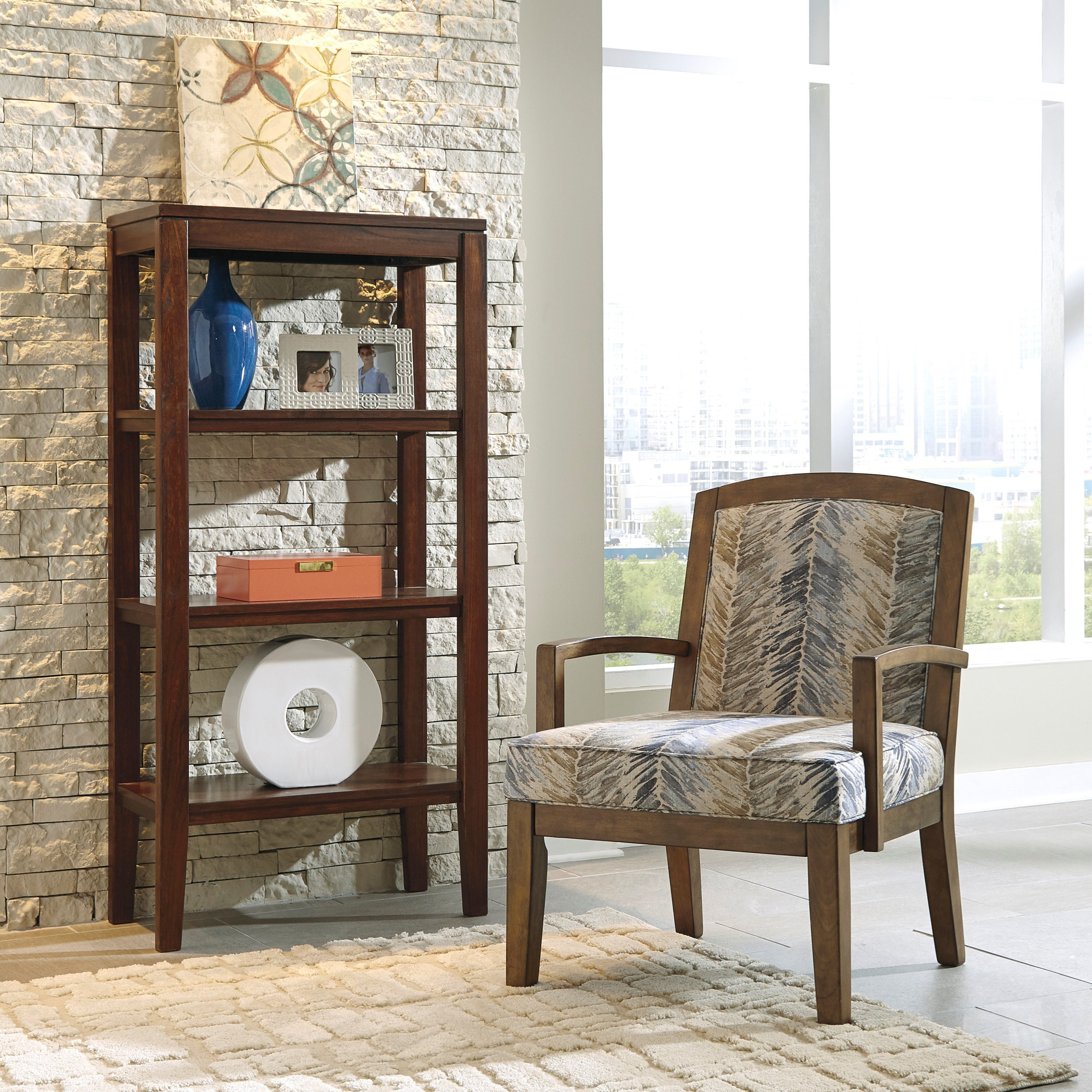 Exposed Wood Furniture ~ Benchcraft hillsway contemporary wood frame accent