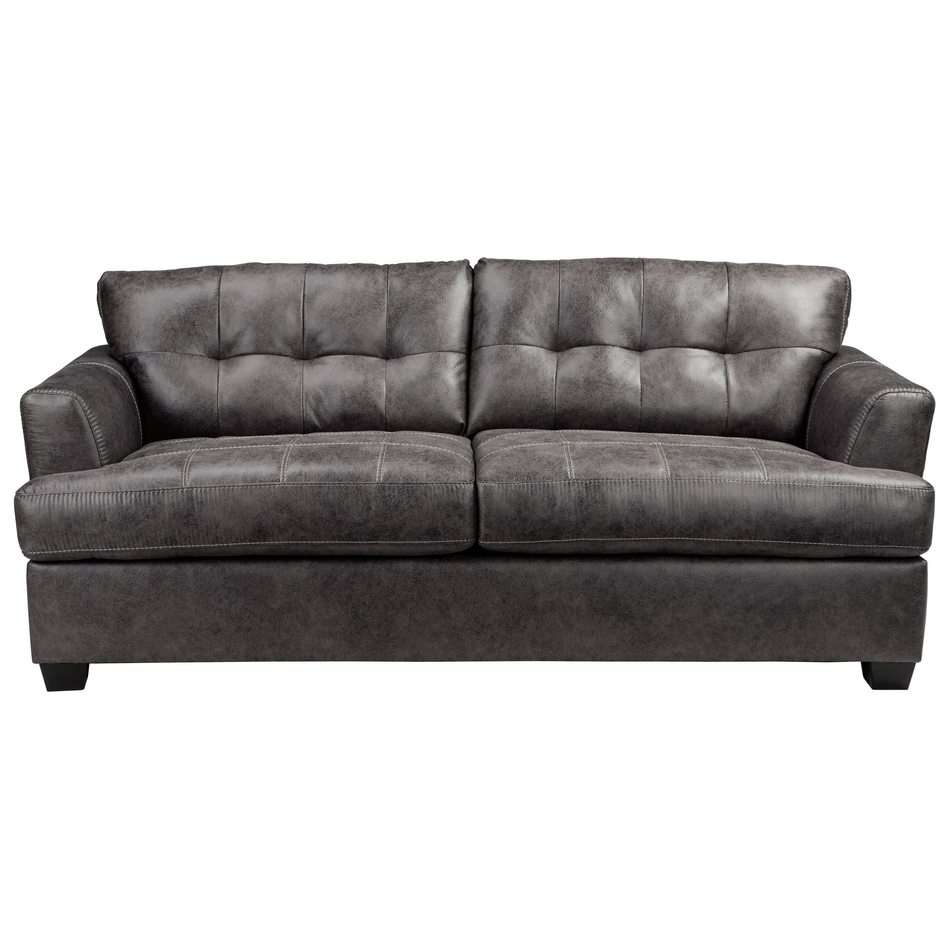 Benchcraft inmon 6580739 faux leather queen sofa sleeper for Tufted leather sleeper sofa