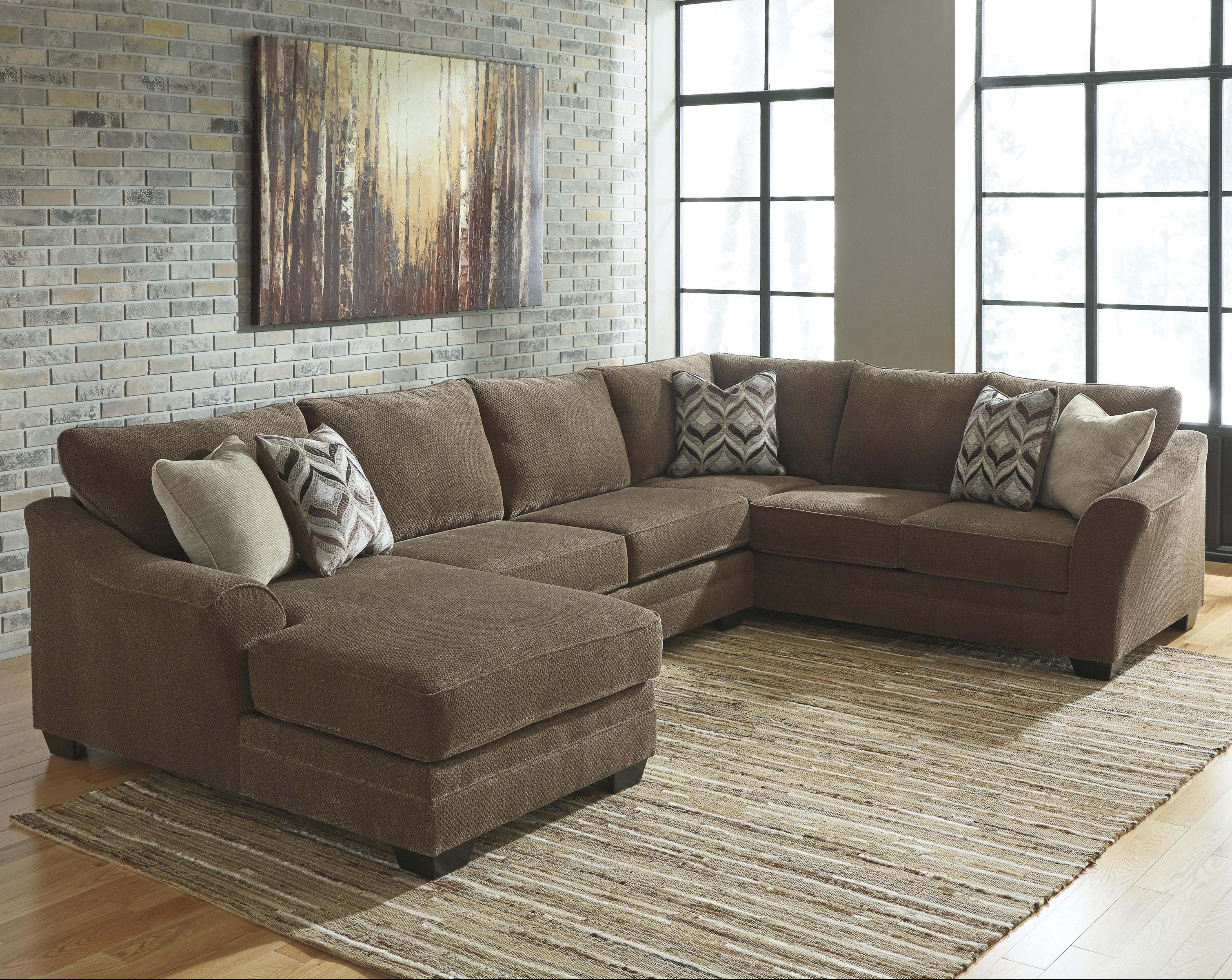 benchcraft justyna contemporary 3 piece sectional with left chaise dunk bright furniture. Black Bedroom Furniture Sets. Home Design Ideas
