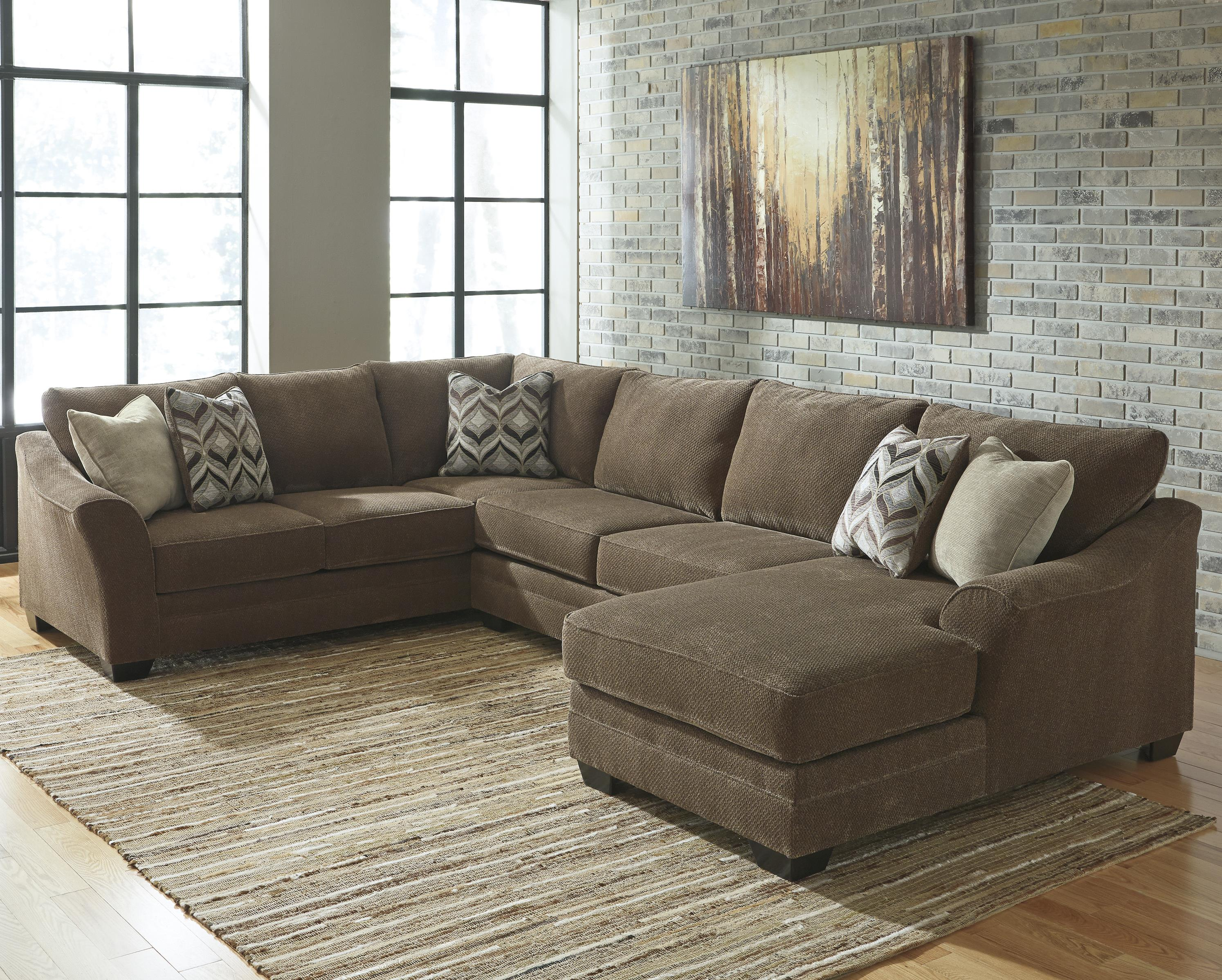 Benchcraft justyna contemporary 3 piece sectional with for 3 piece sectional sofas with chaise