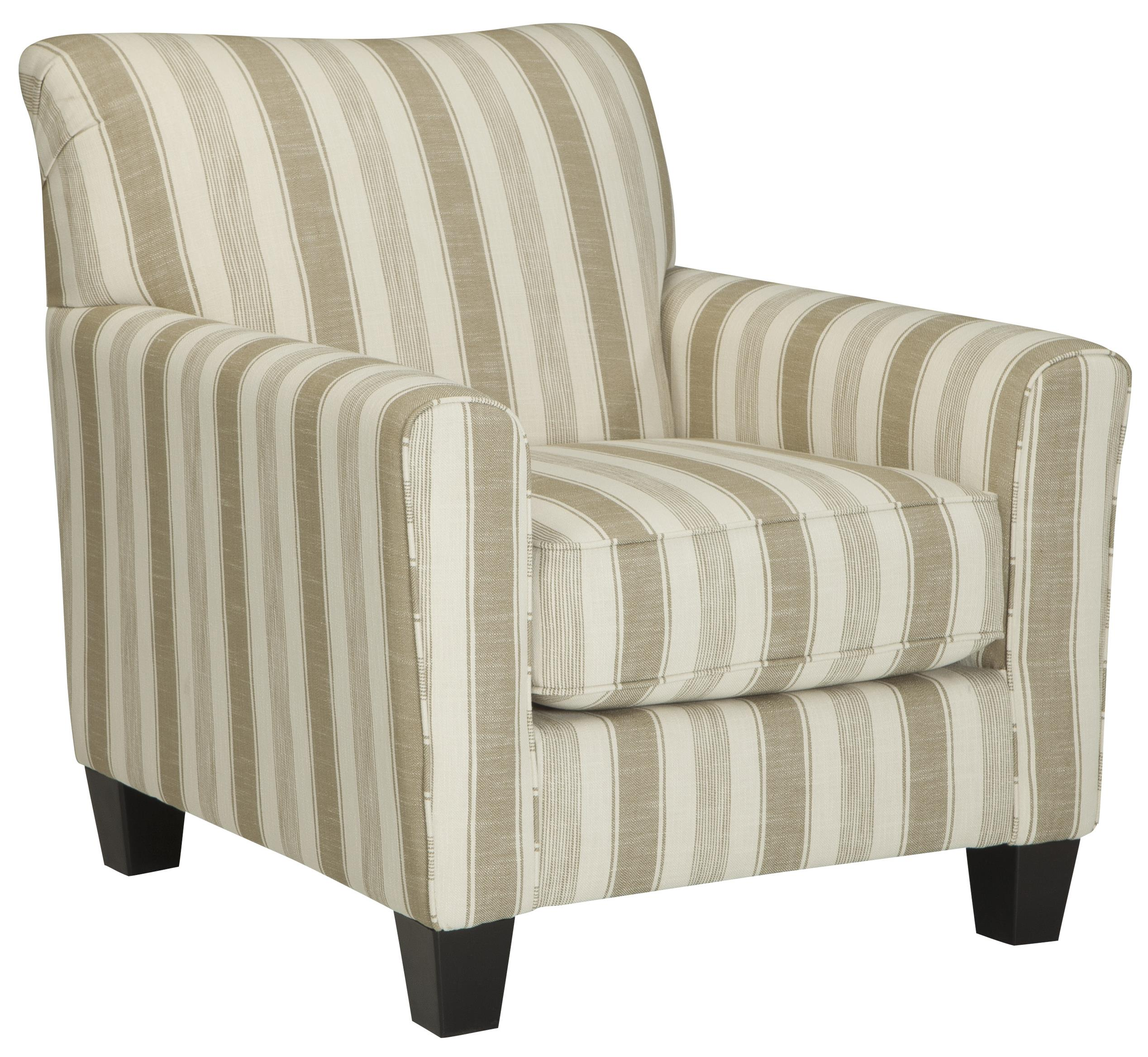 Laryn accent chair with neutral stripe fabric becker for Striped chairs living room