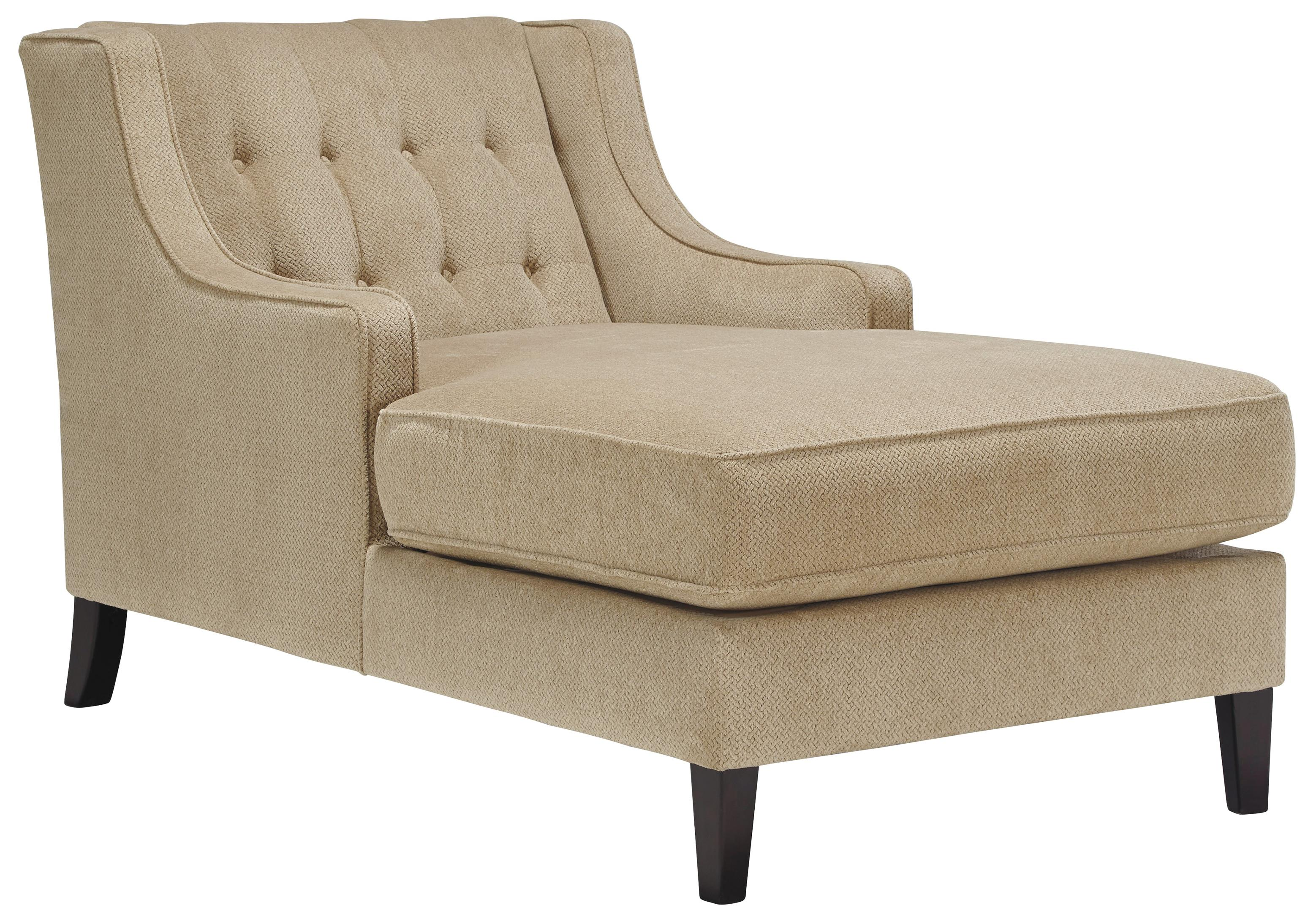 Benchcraft lochian chaise with 2 arms and tufted wing back for Chaise wooden arms