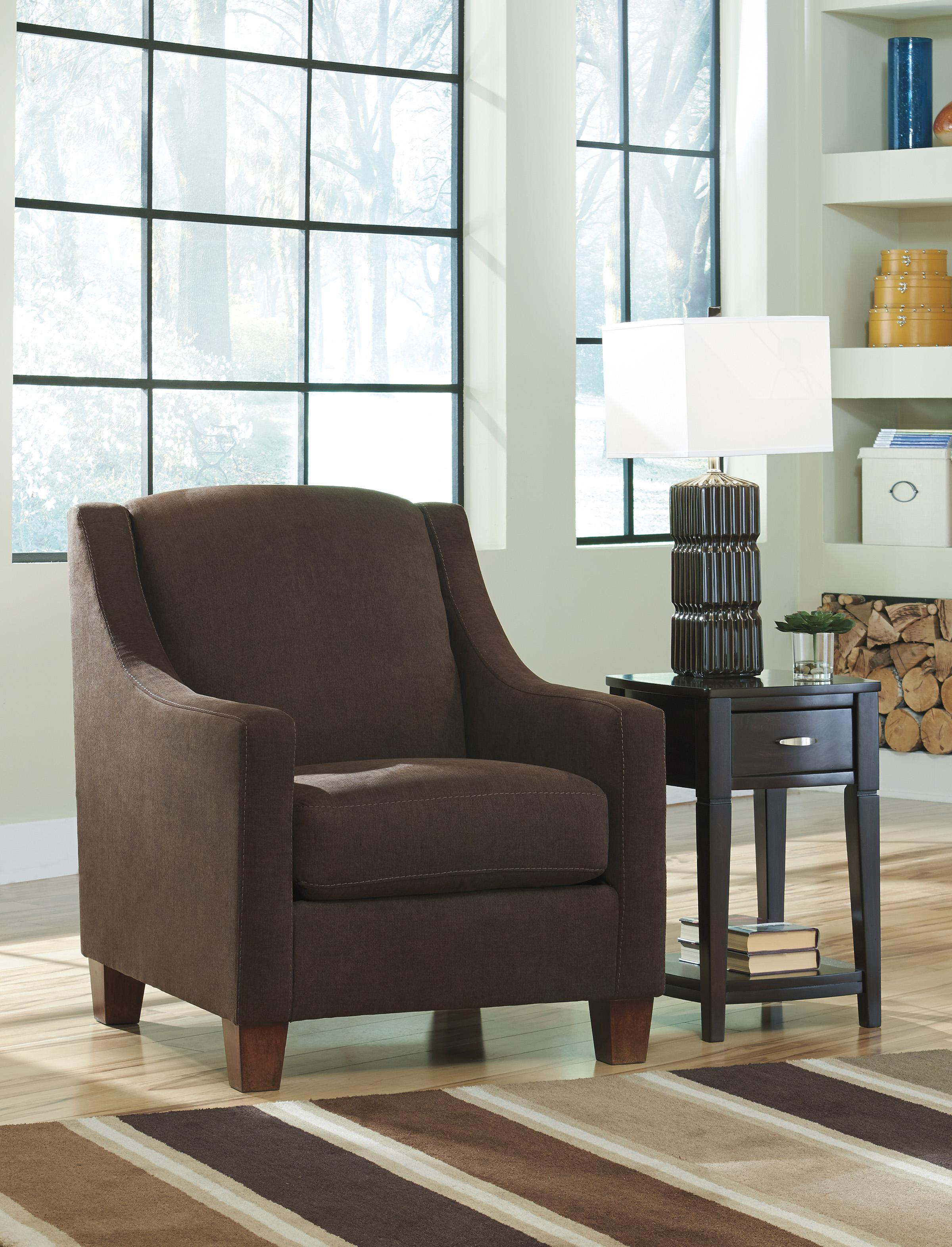 Benchcraft Maier Walnut 4520121 Contemporary Accent Chair With Sloping Track Arms John V