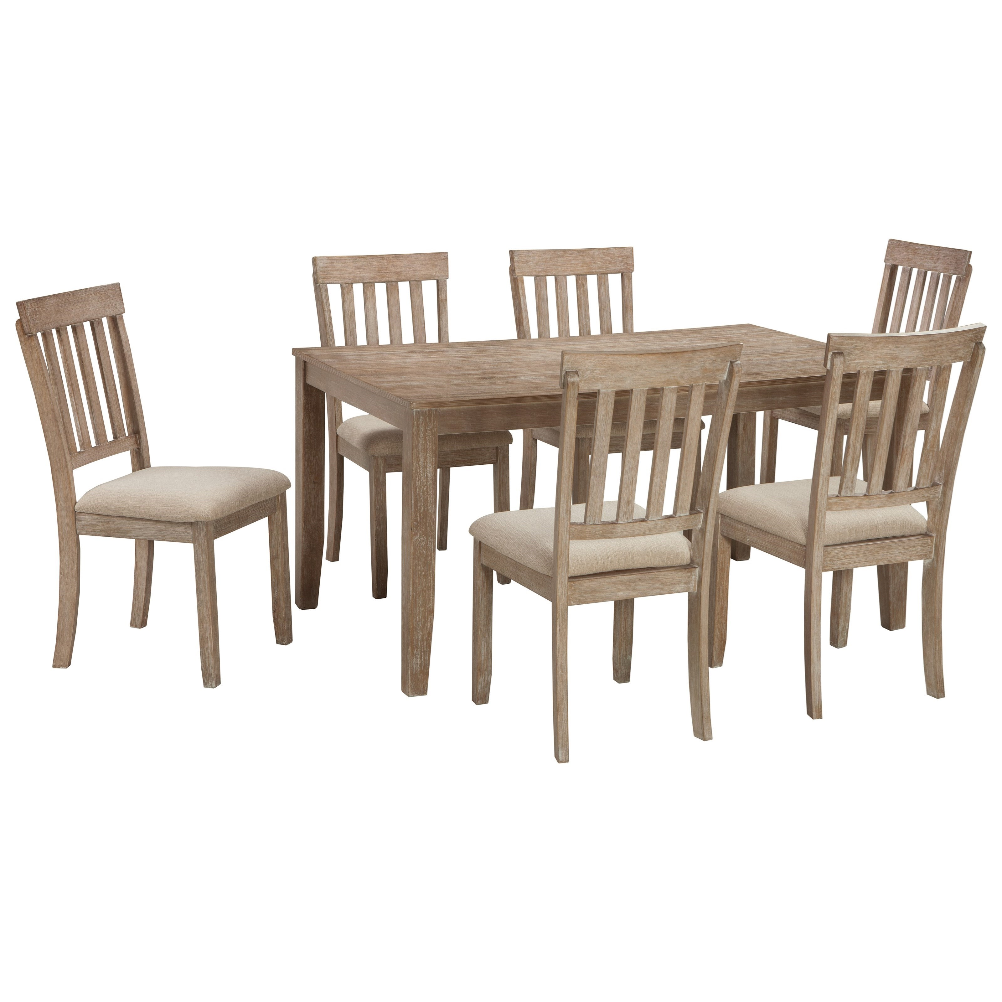 Benchcraft mattilone casual dining room table set with 6 for Casual dining room chairs