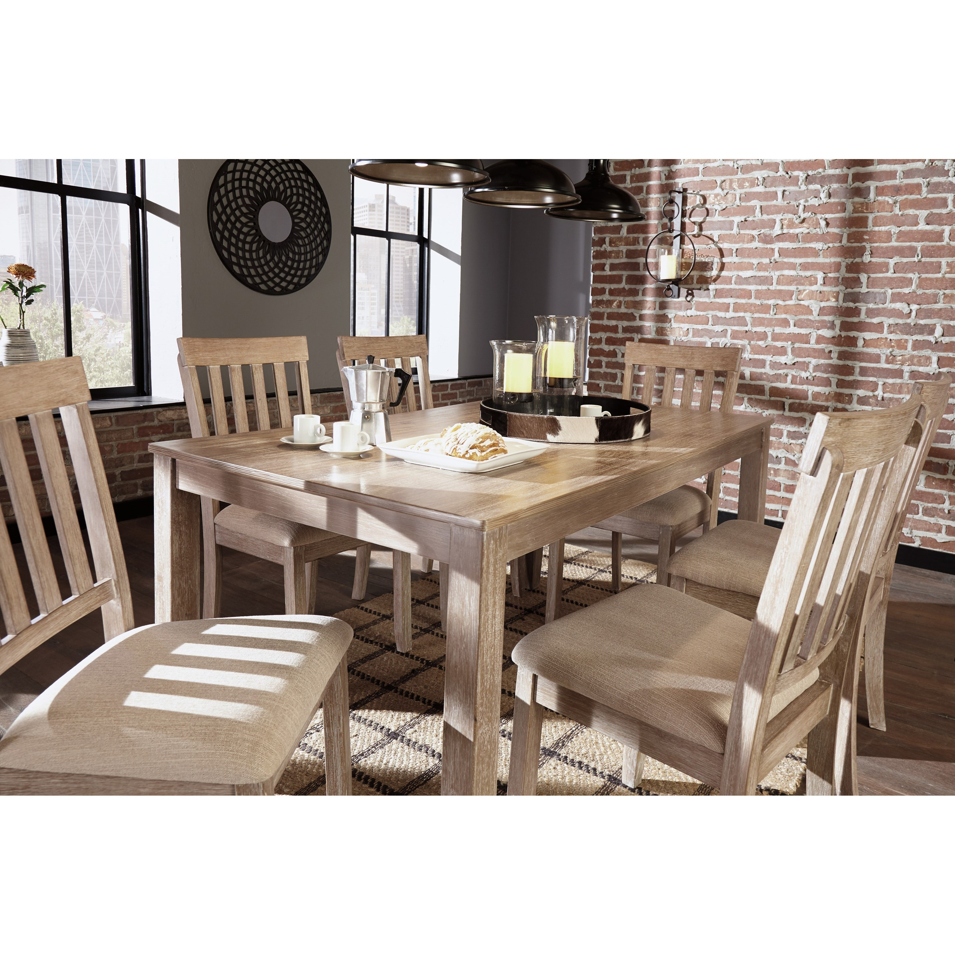 benchcraft mattilone d484 425 casual dining room table set with 6 chairs john v schultz. Black Bedroom Furniture Sets. Home Design Ideas