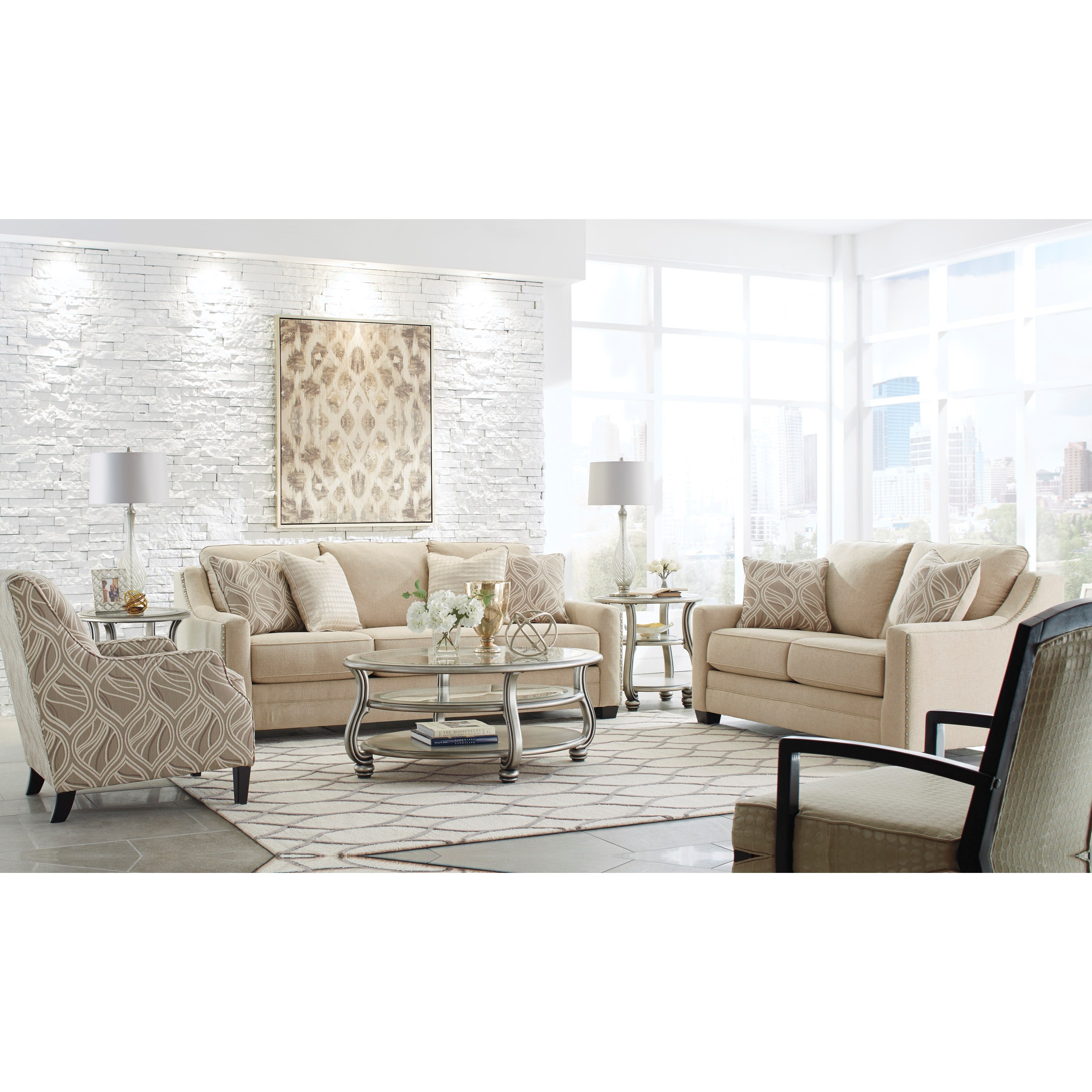 Benchcraft mauricio stationary living room group for Living room group sets