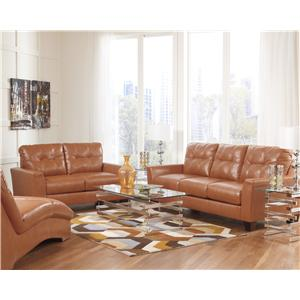 Benchcraft Paulie DuraBlend Orange Contemporary Sofa With Tufted Detailing