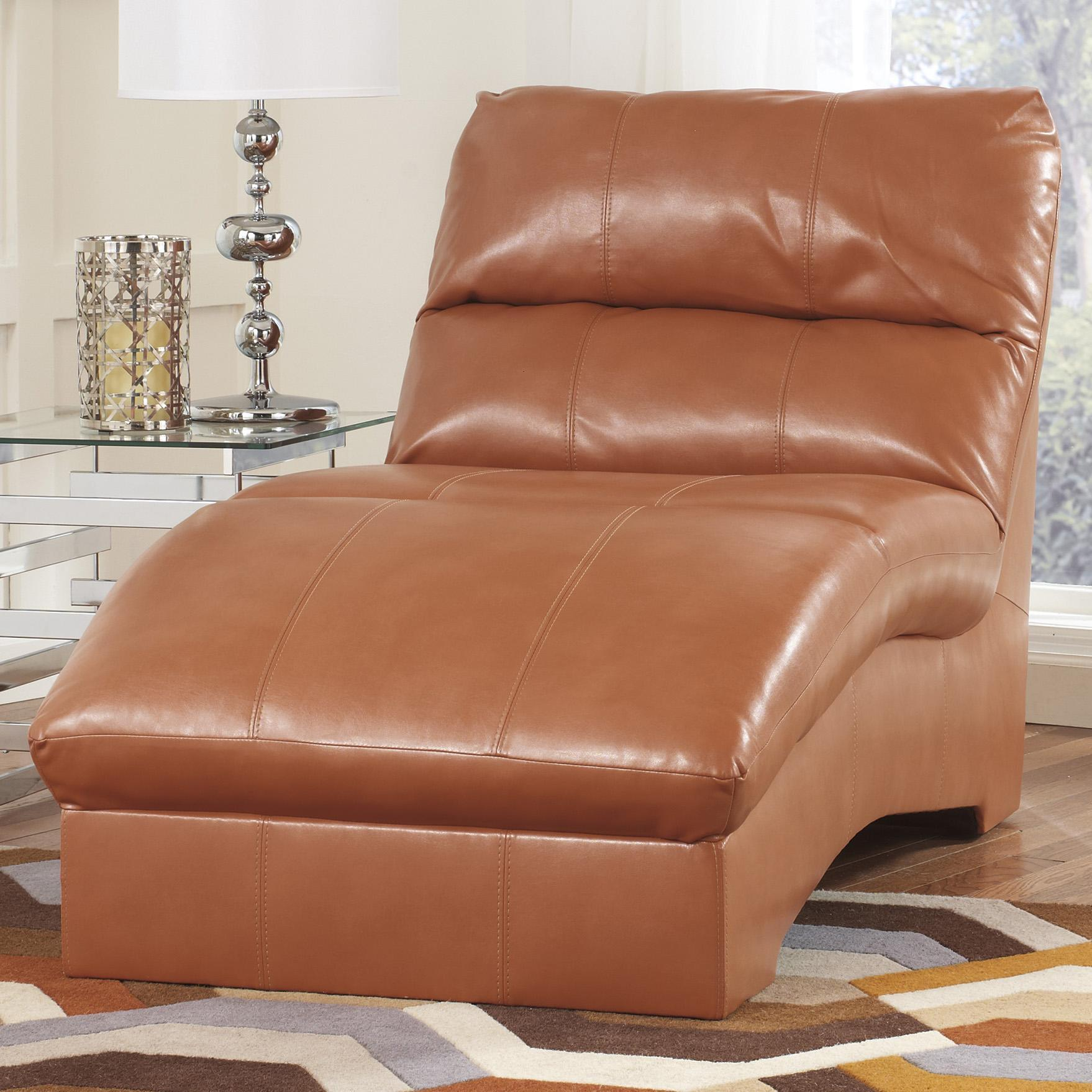 Benchcraft Paulie DuraBlend Orange Contemporary Chaise With Bonded Leather