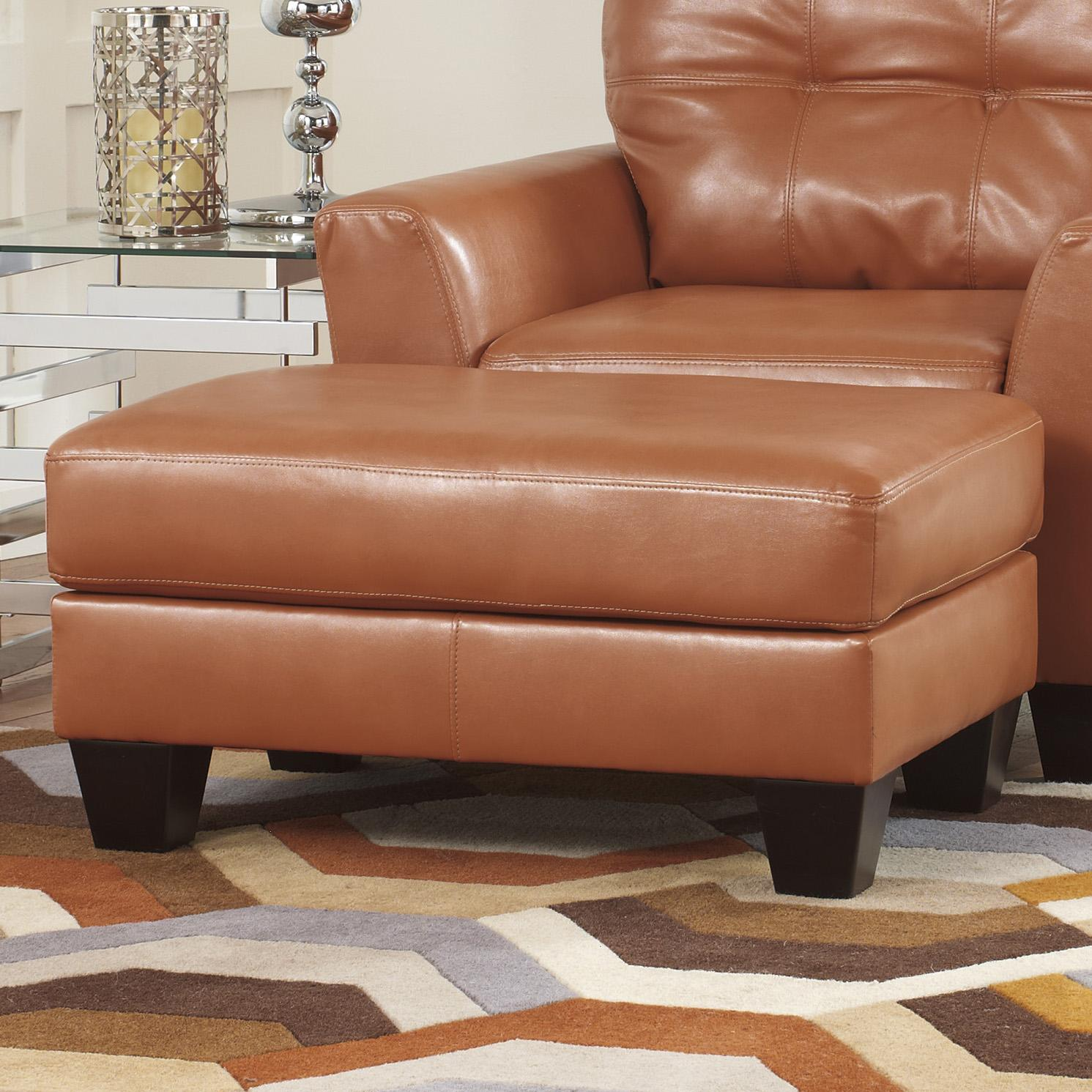 Benchcraft Paulie DuraBlend Orange Contemporary Chair And Ottoman In Bonde