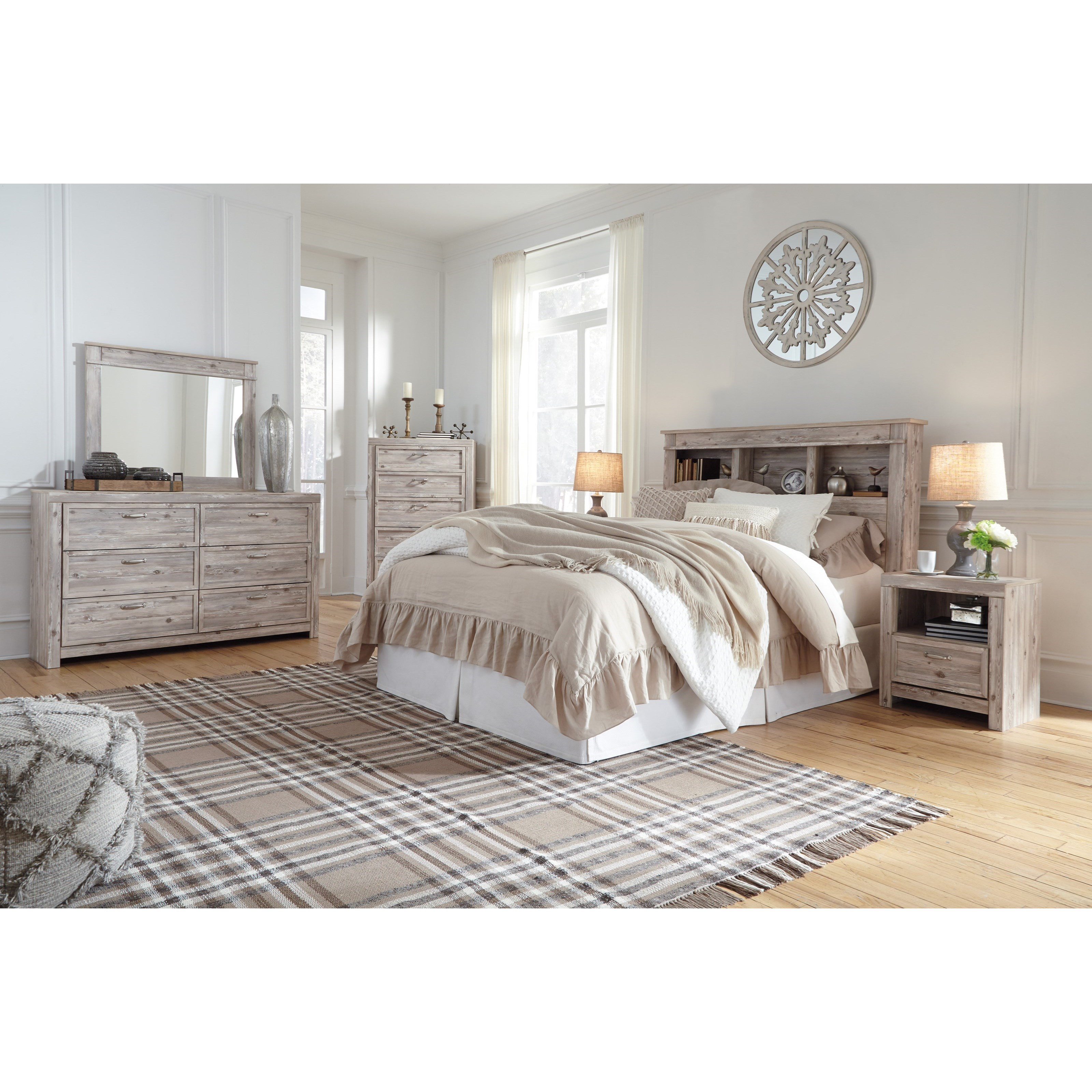 Willabry queen bookcase headboard with built in led lights becker furniture world headboards for London bedroom set with lighted headboard