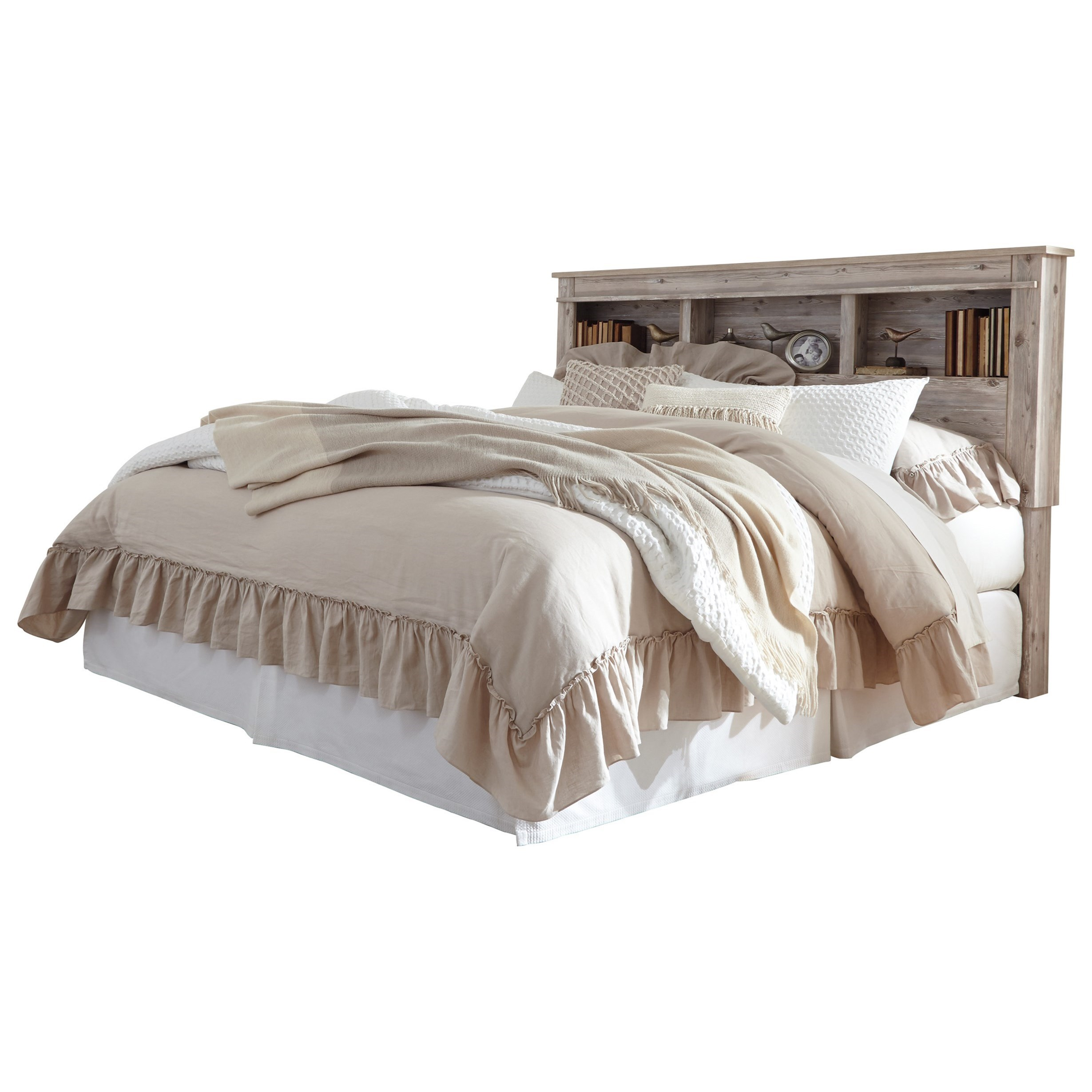 Benchcraft by ashley willabry king cal king bookcase headboard with built in led lights royal for London bedroom set with lighted headboard