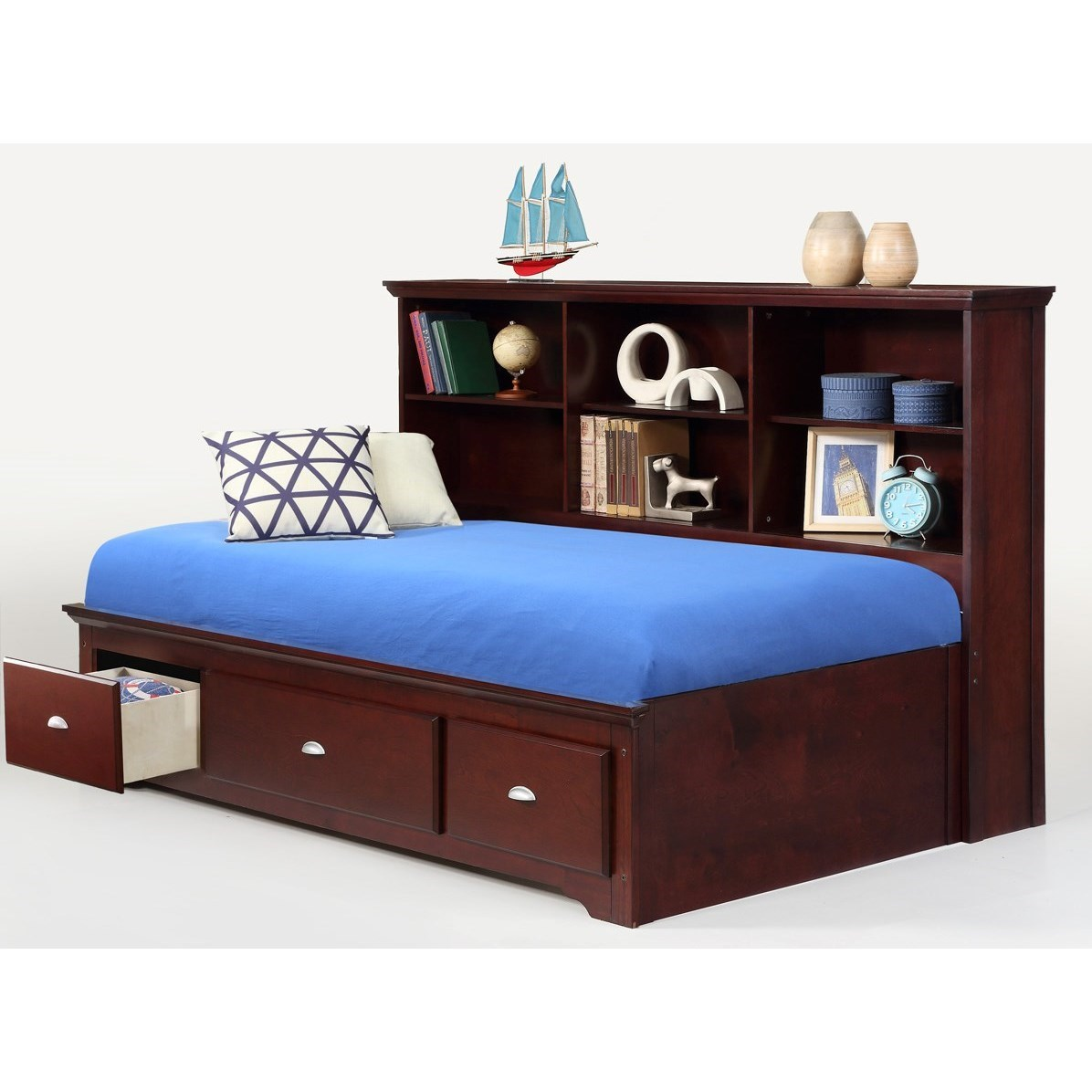 Bernards ethan full lounge bed with bookcase headboard for Royal headboard