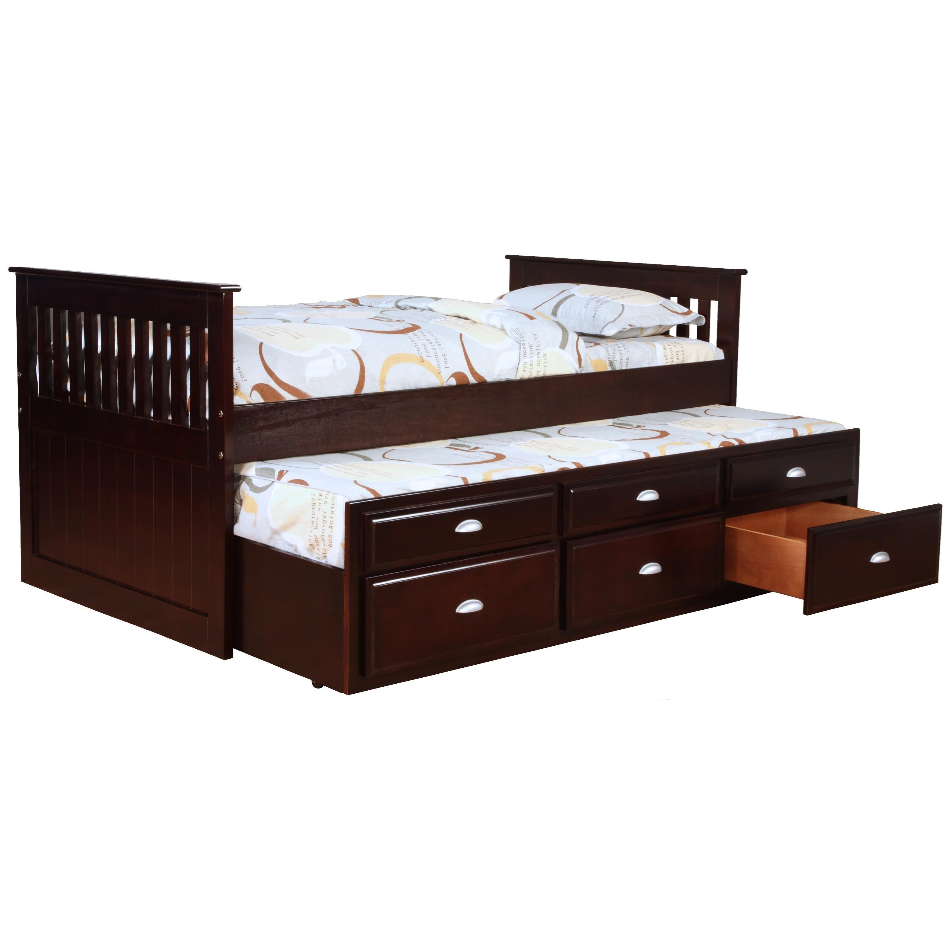 Bernards Logan Captains Bed with Trundle and Storage  Wayside Furniture  Captains Beds