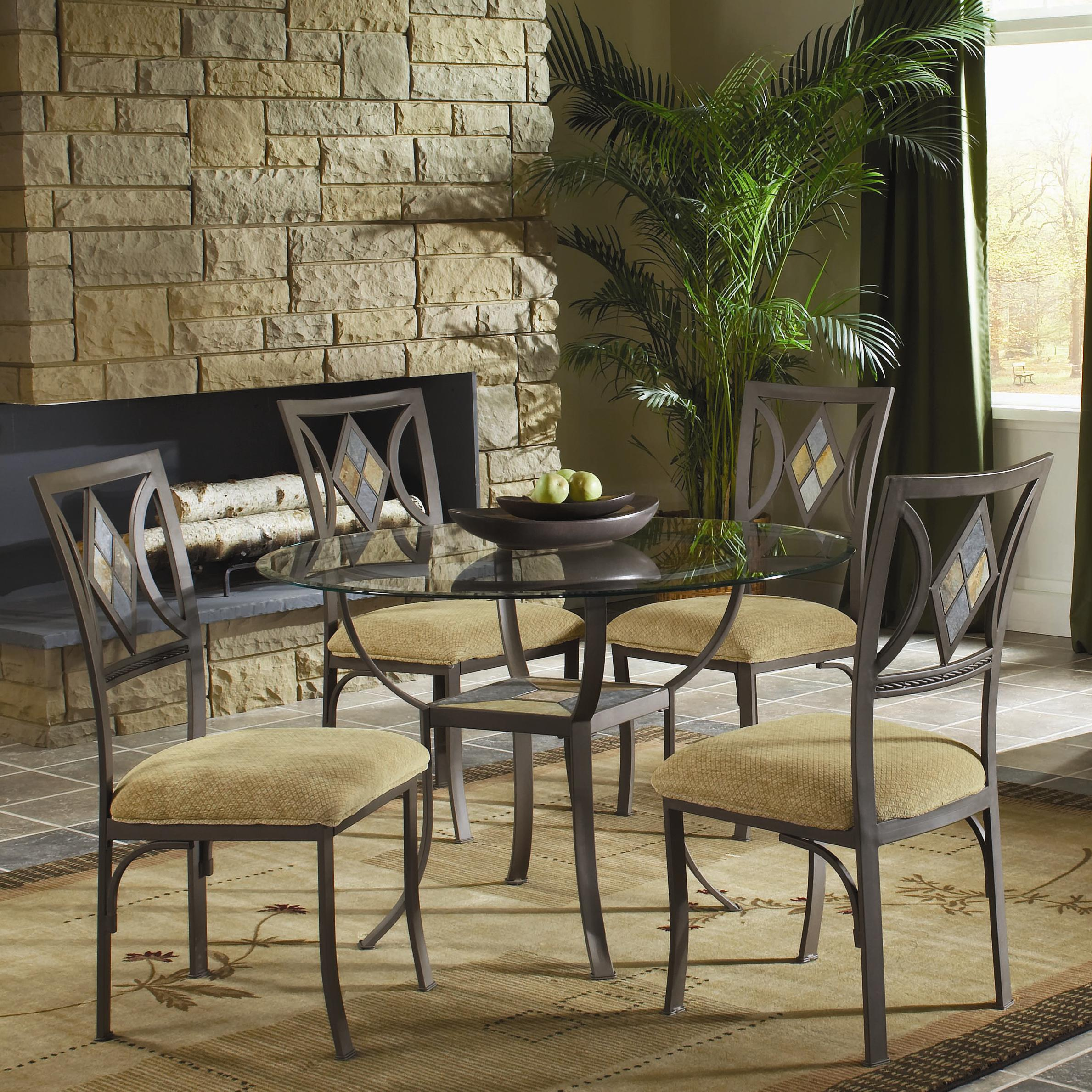 bernards diamond tile 5 piece 45 round bevel glass top table with metal base 4 chairs. Black Bedroom Furniture Sets. Home Design Ideas