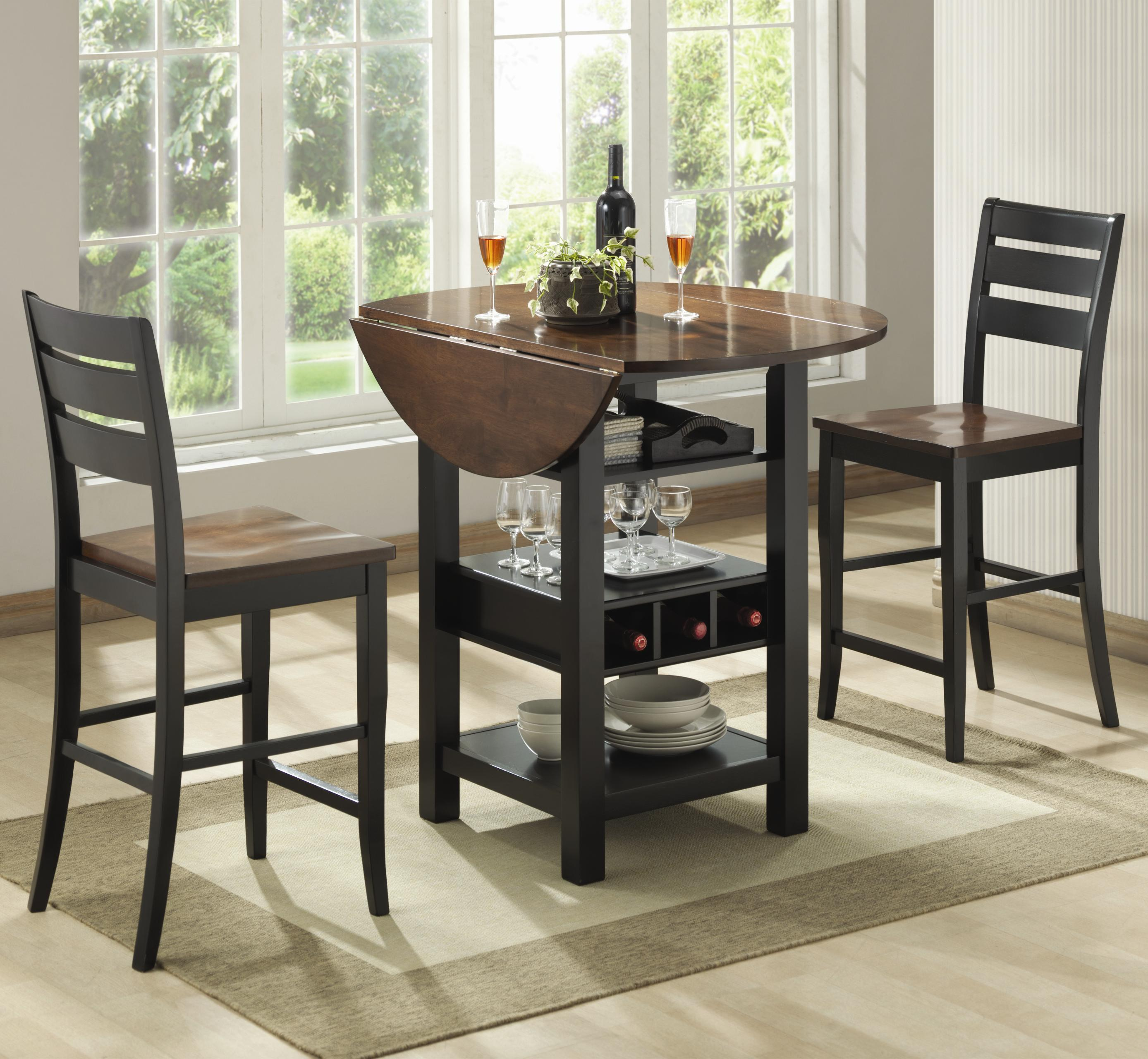 Bernards ridgewood 3 piece drop leaf pub table set for Pub style dining sets