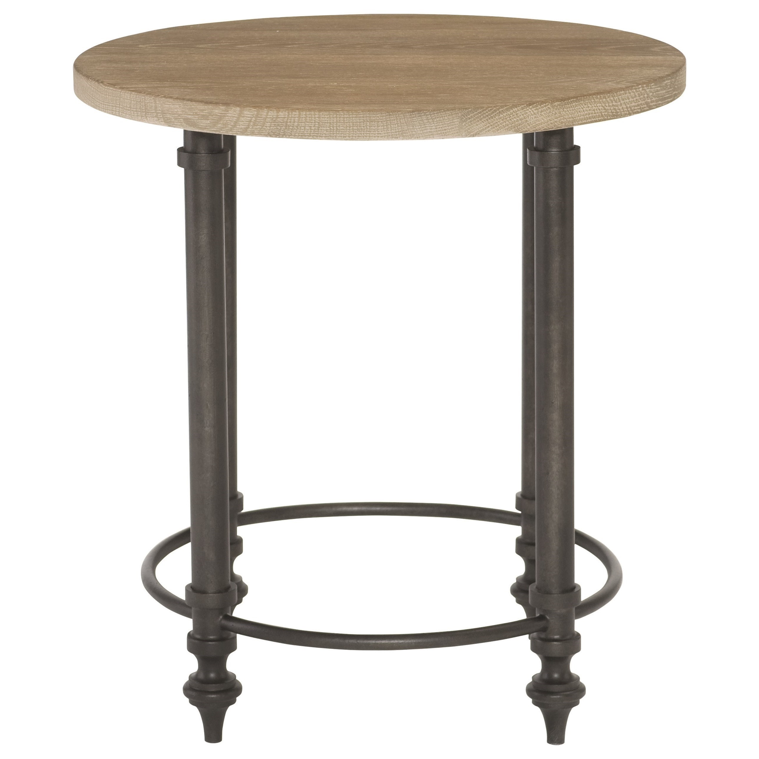 Bernhardt antiquarian round end table with metal base for Bright colored side tables