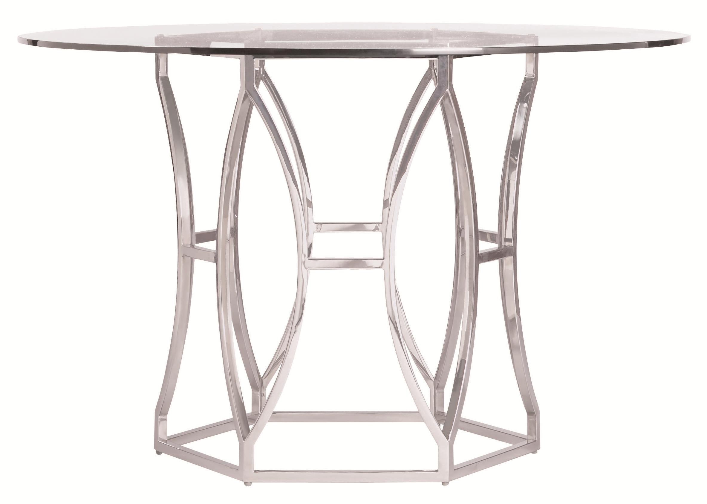 Bernhardt argent modern round dining table with metal base - Table base for round glass top ...