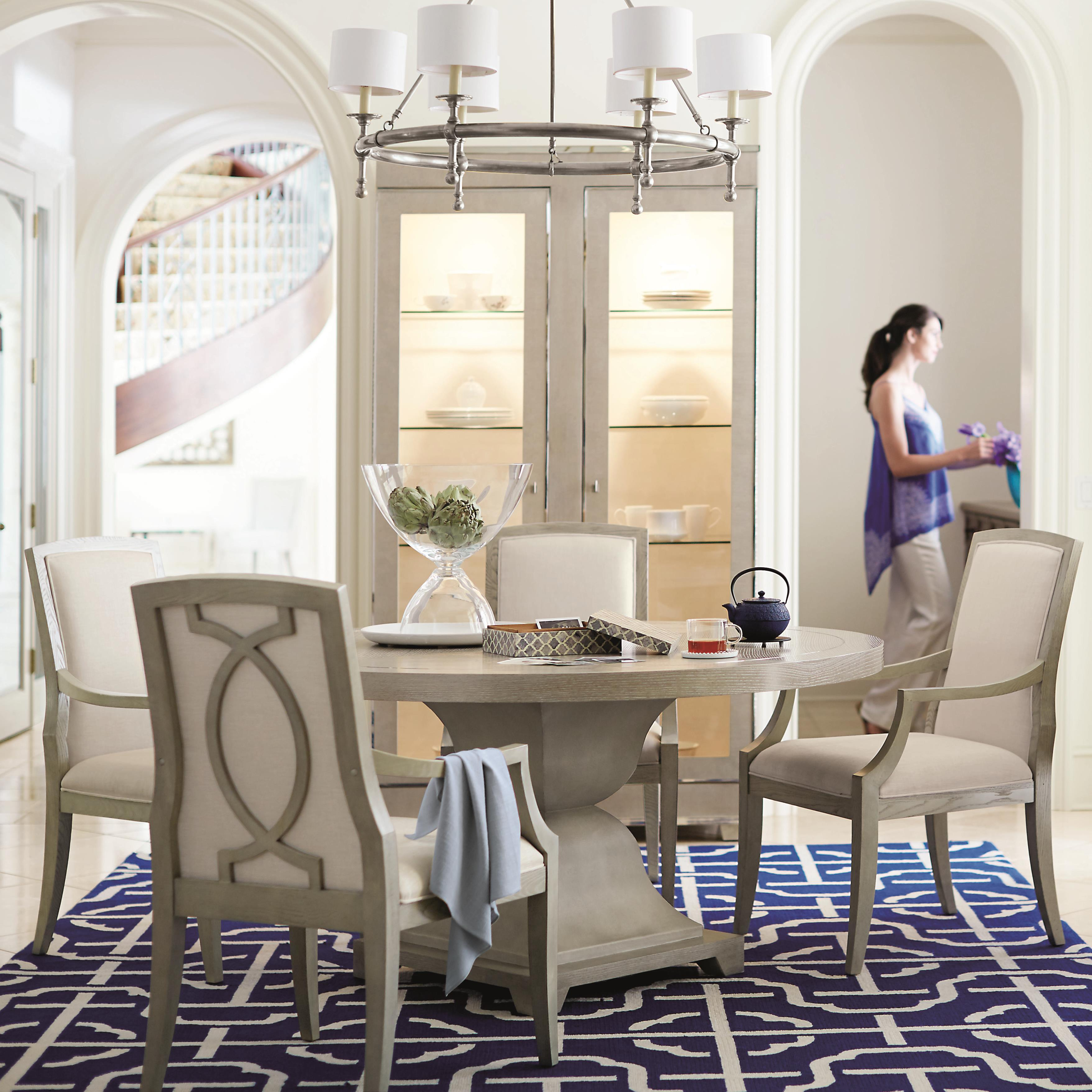 Bernhardt criteria 5 piece dining set with upholstered arm for Chair design criteria