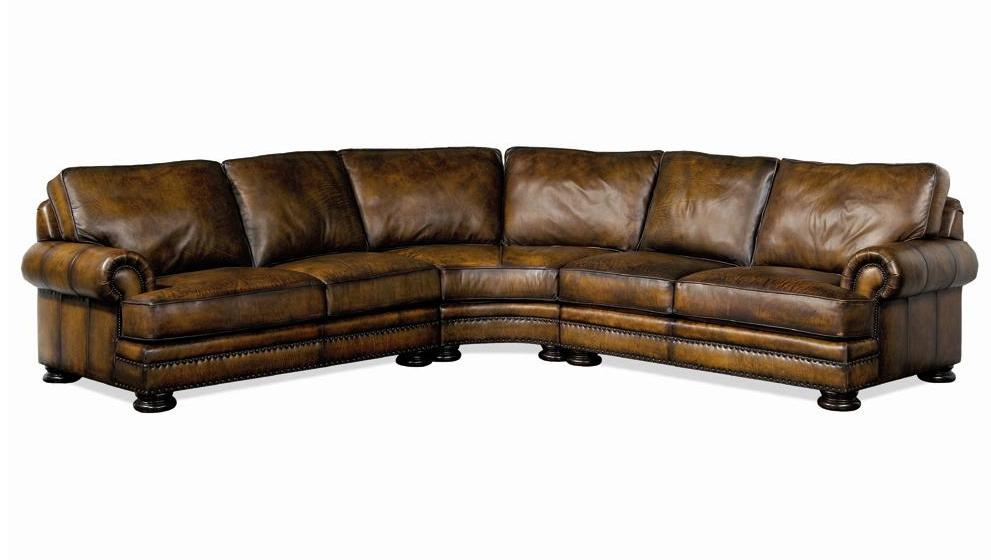 Bernhardt foster leather sectional sofa with nailhead trim for Sectional sofas with nailhead trim