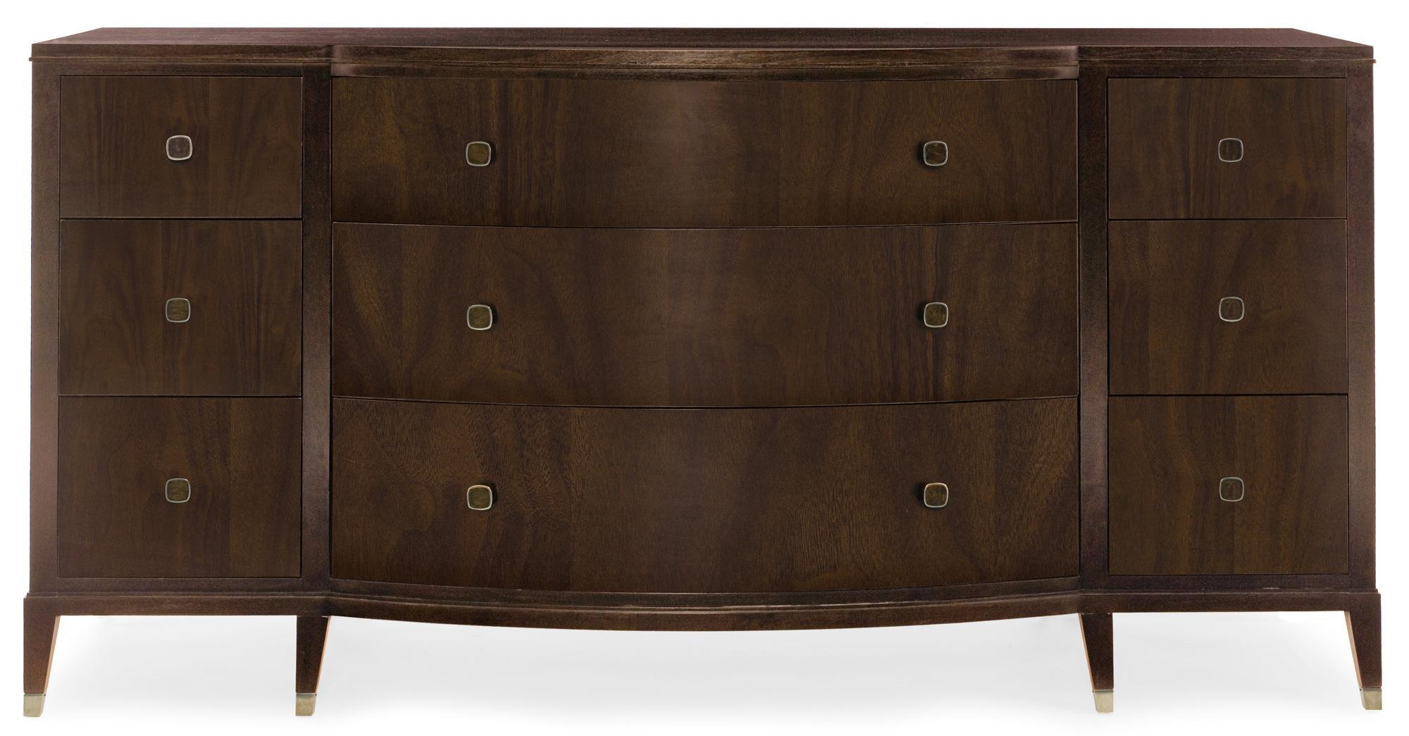 Bernhardt Haven 9 Drawer Dresser With Curved Front Reeds